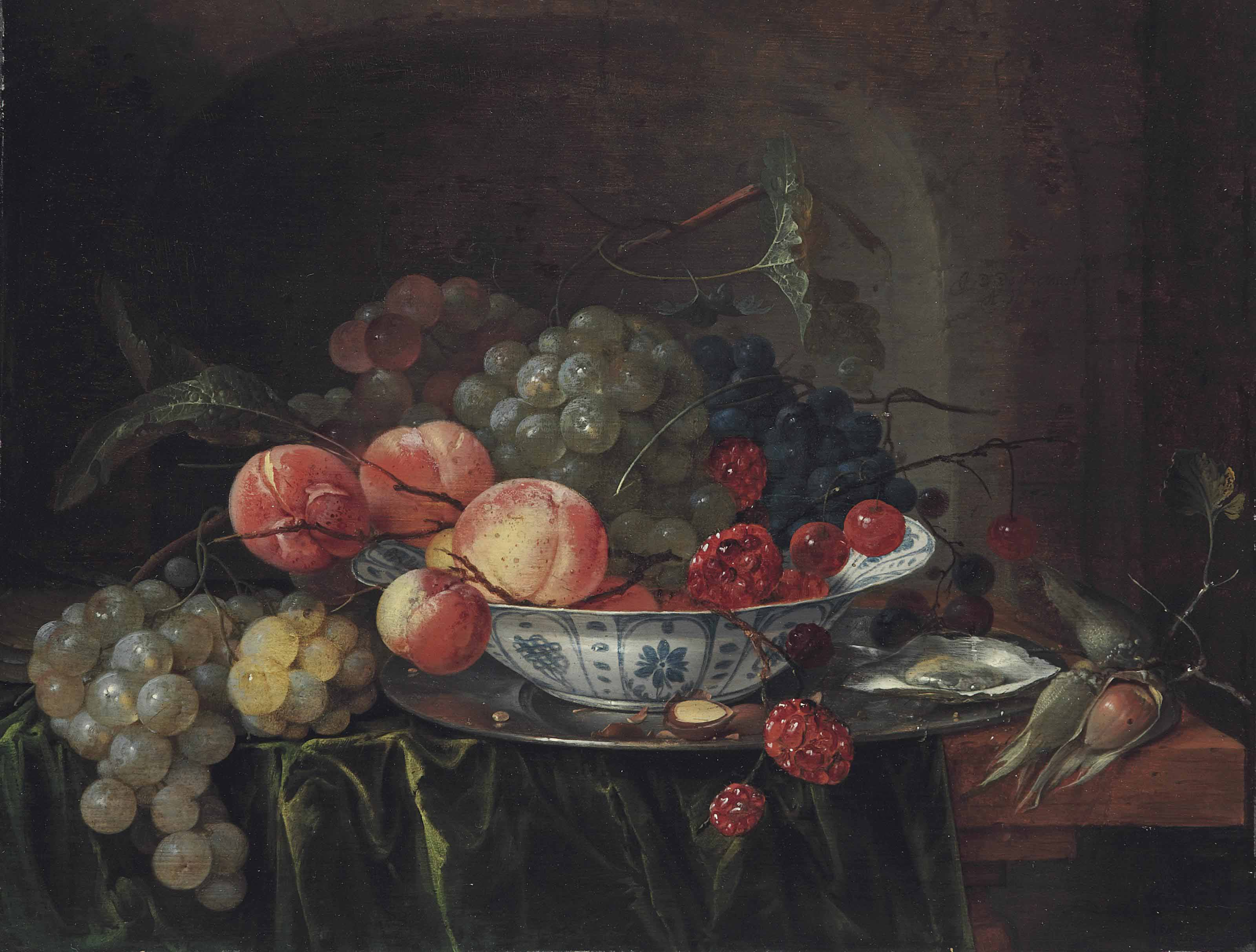 Grapes and apples in a Wan-li dish with oysters on a stone ledge