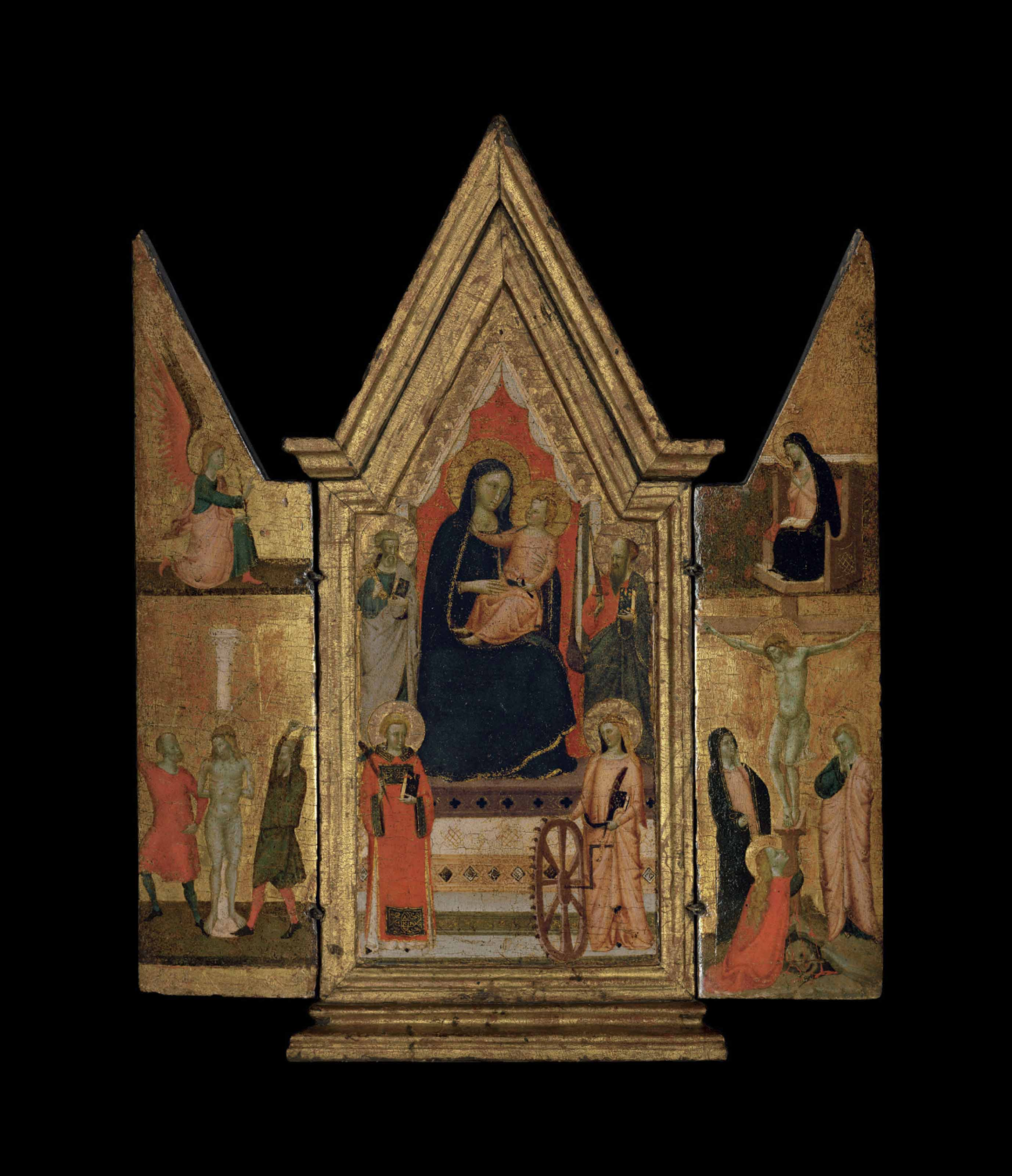 A triptych: central panel: The Madonna and Child Enthroned, with Saints Peter, Paul, Catherine of Alexandria and another Saint; the wings: The Flagellation of Christ; and The Crucifixion, with The Annunciation