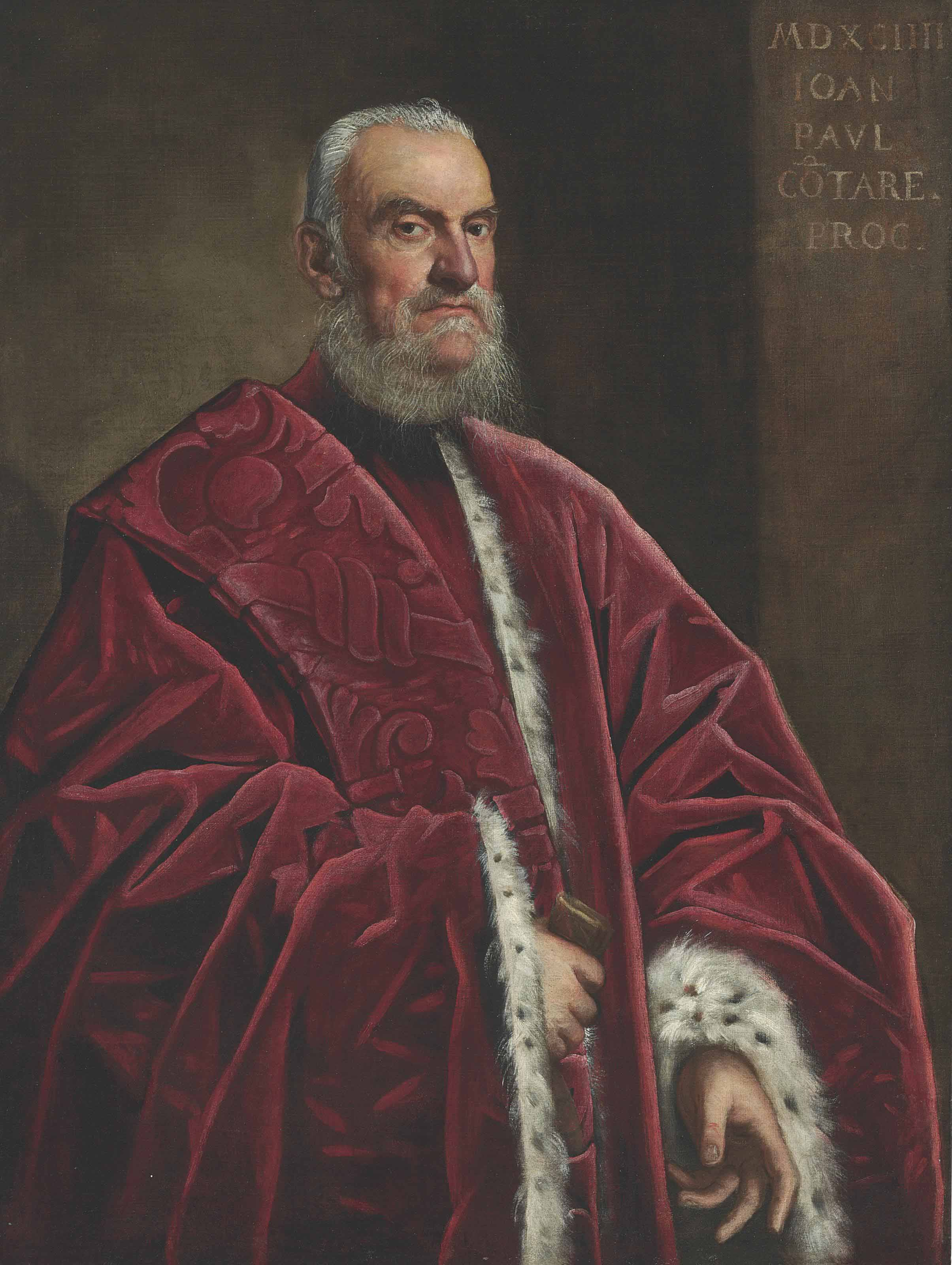Portrait of Giovanni Paolo Contarini, three-quarter length, in a red ermine-lined robe
