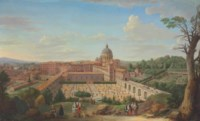 A view of Rome with Saint Peter's Basilica seen from the north, showing the Giardino Segreto with the arms of Pope Clemente XI Albani and the Giardino Comune, with elegant figures in the foreground, a papal procession at right, and the Tiber River beyond