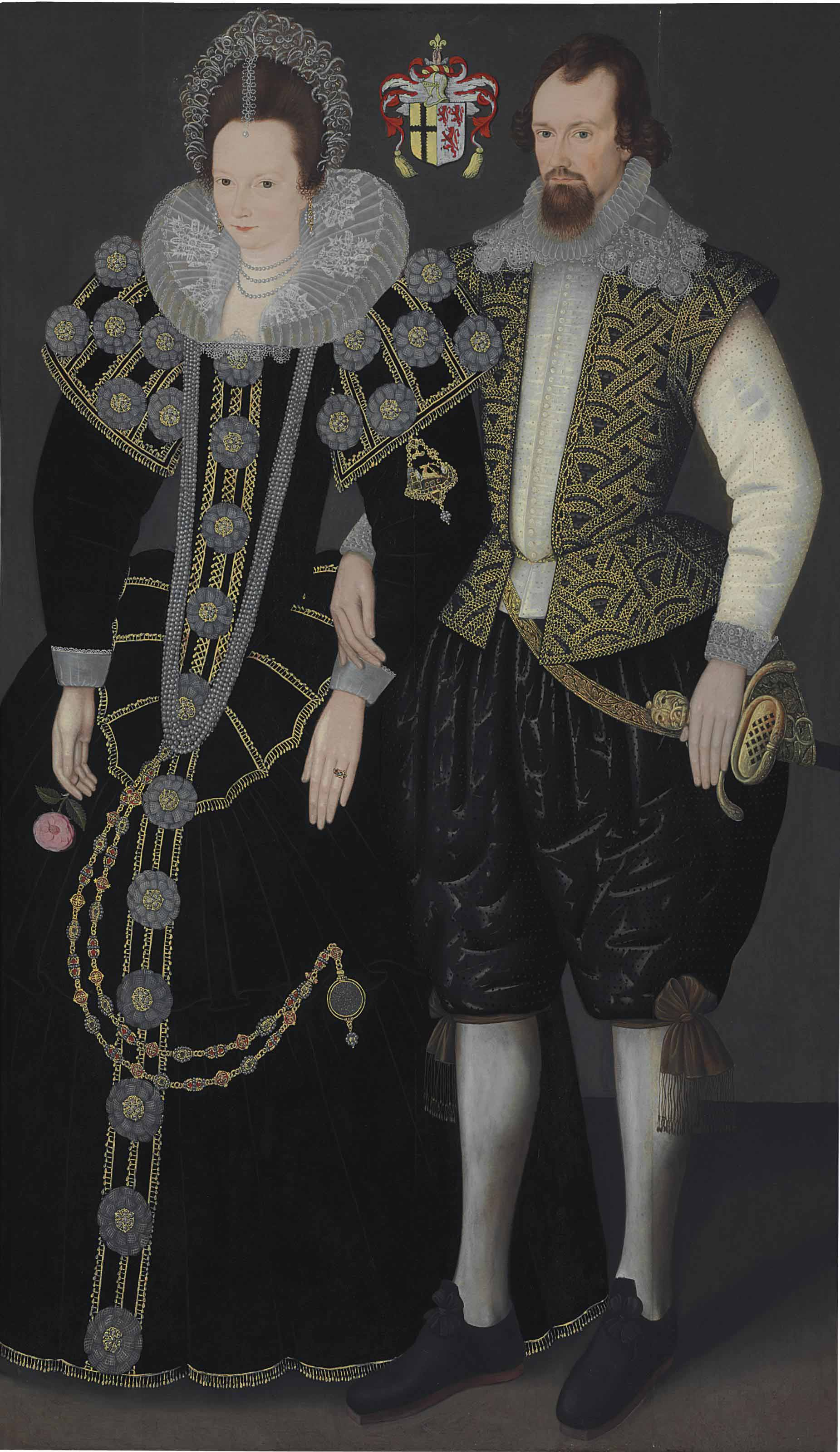 Double portrait of Sir Reginald (c.1564-1639) and Lady Mohun, full-length, the former in a black, richly embroidered jerkin and hose, and lace collar and ruff, holding a gilt-iron Rapier in an embroidered carrier in his left hand, the latter in a black dress and lace ruff, holding a rose in her right hand