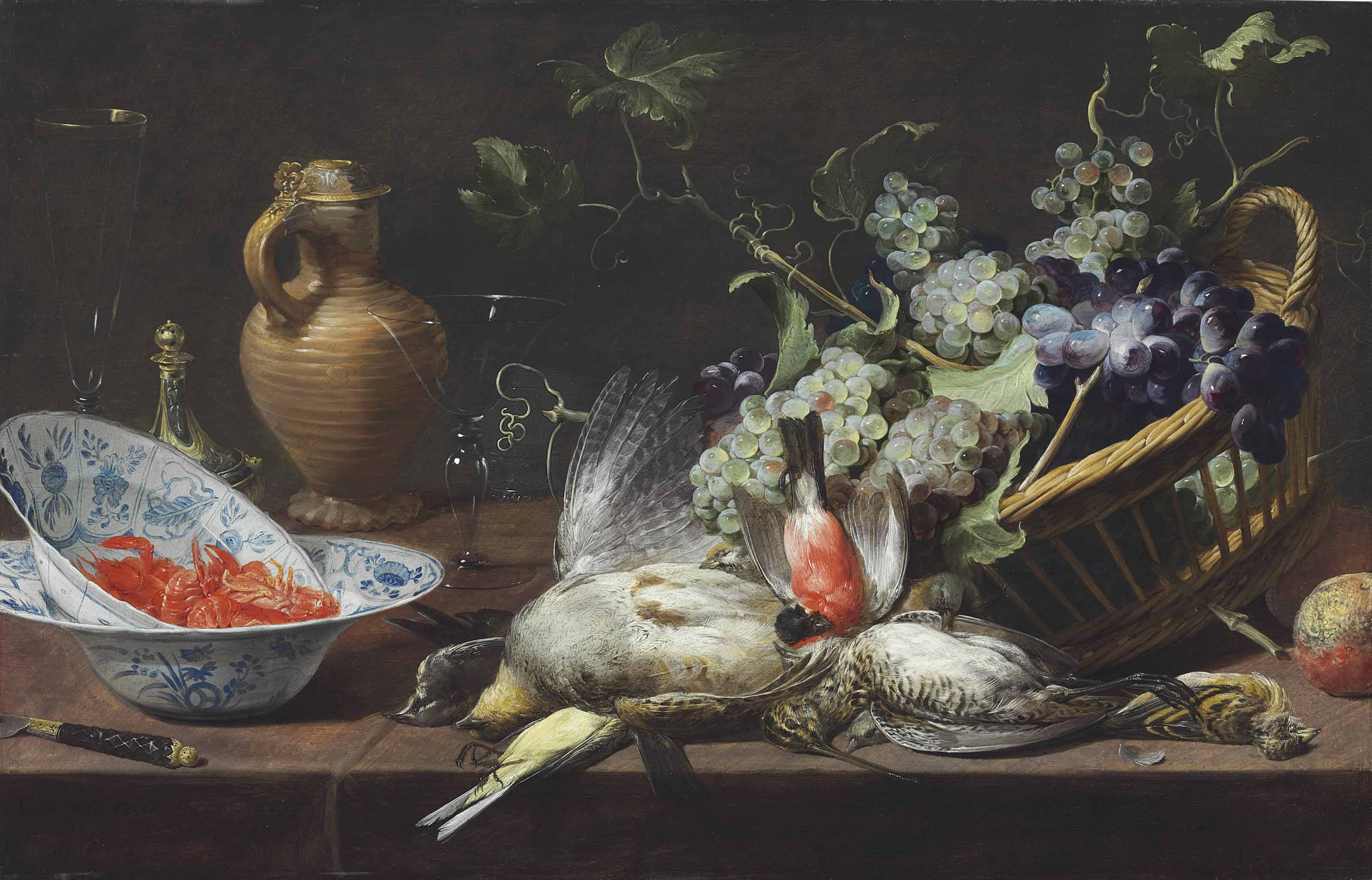 A partridge, snipe, sparrow, finch, and other birds with a basket of grapes and langoustines in Wan-li kraak porcelain bowls, a mounted stoneware jug, saltcellar, and glasses on a tabletop