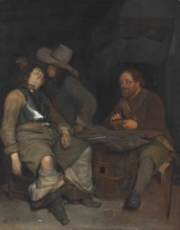 A guardroom interior with a soldier blowing smoke in the face of his sleeping companion, a third looking on