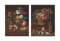 Flowers in a glass vase with reptiles in preserve jars and shells on a wooden table; and Fruit in a wicker basket with a snake in a preserve jar and shells and a chestnut on a ledge