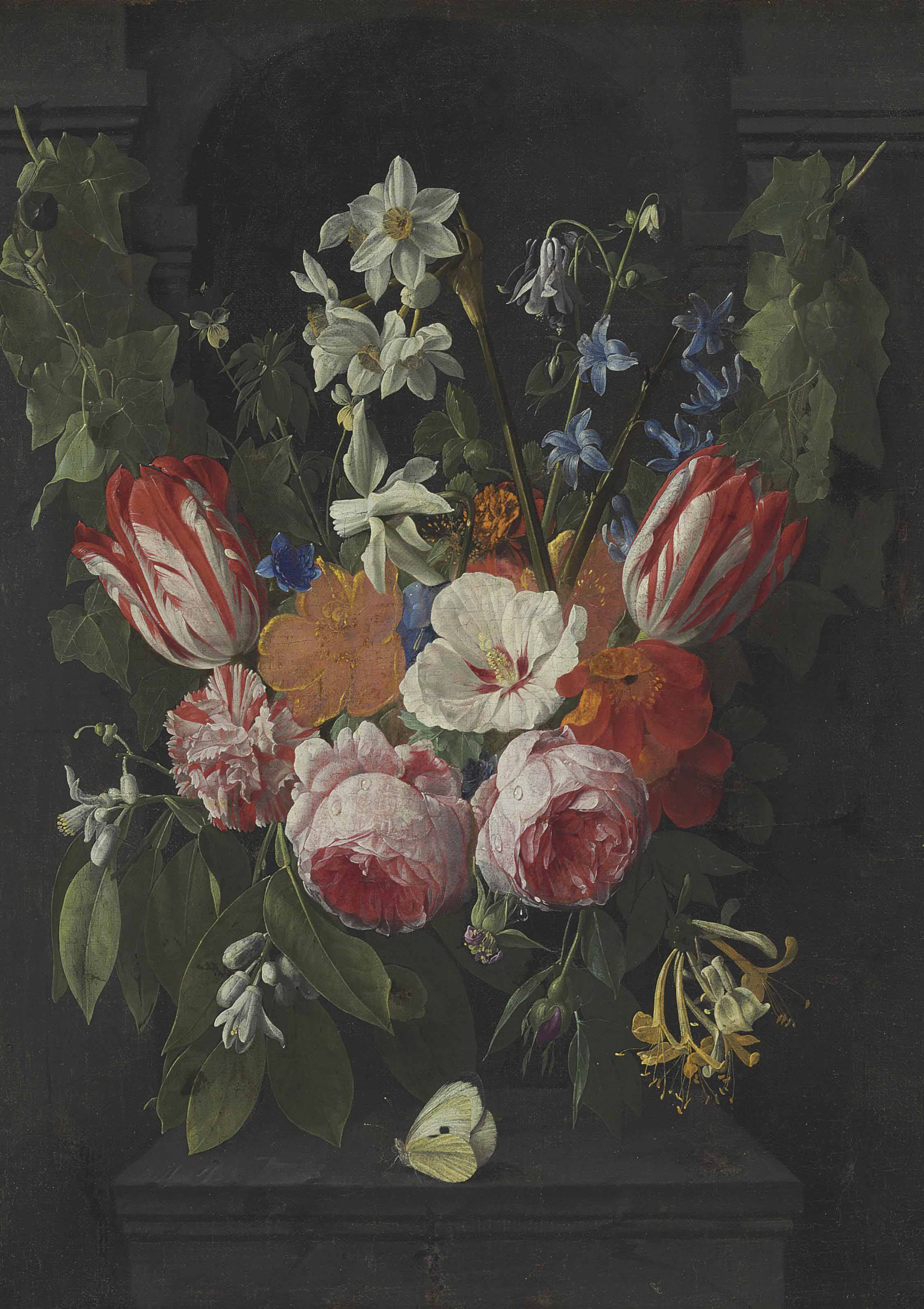 A swag of tulips, peonies, carnations, narcissi and other flowers with a butterfly in a stone niche