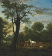 Two horses, cows, sheep and goats in a woodland clearing