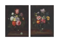 Roses, carnations, a tulip, and other flowers in a glass vase, with a butterfly on a wooden tabletop; and Roses, carnations, and other flowers in a glass vase, with a fly on a wooden tabletop