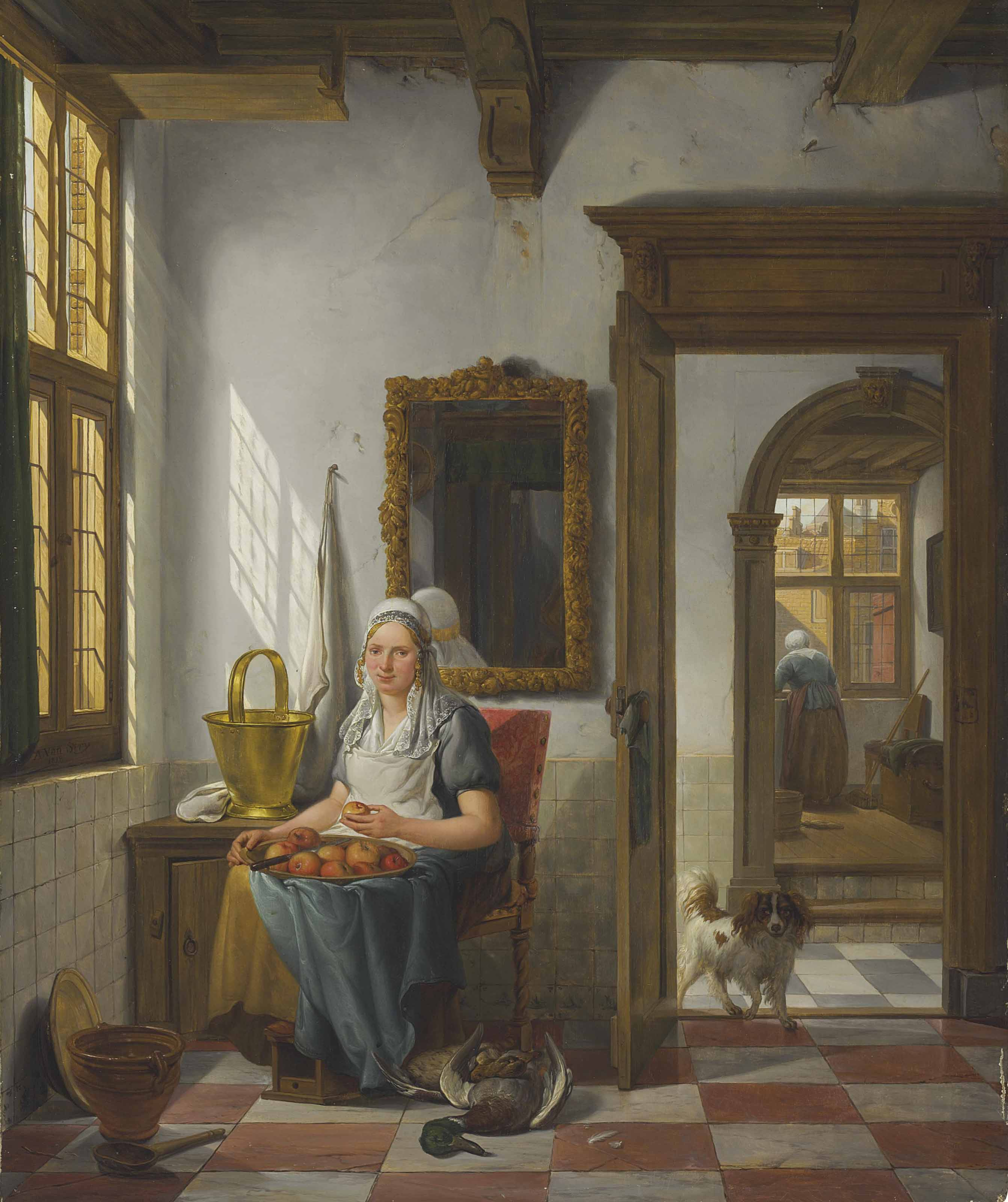 An interior with a woman peeling apples