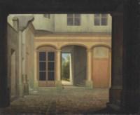 An Italianate cobblestone courtyard, a sunlit landscape beyond