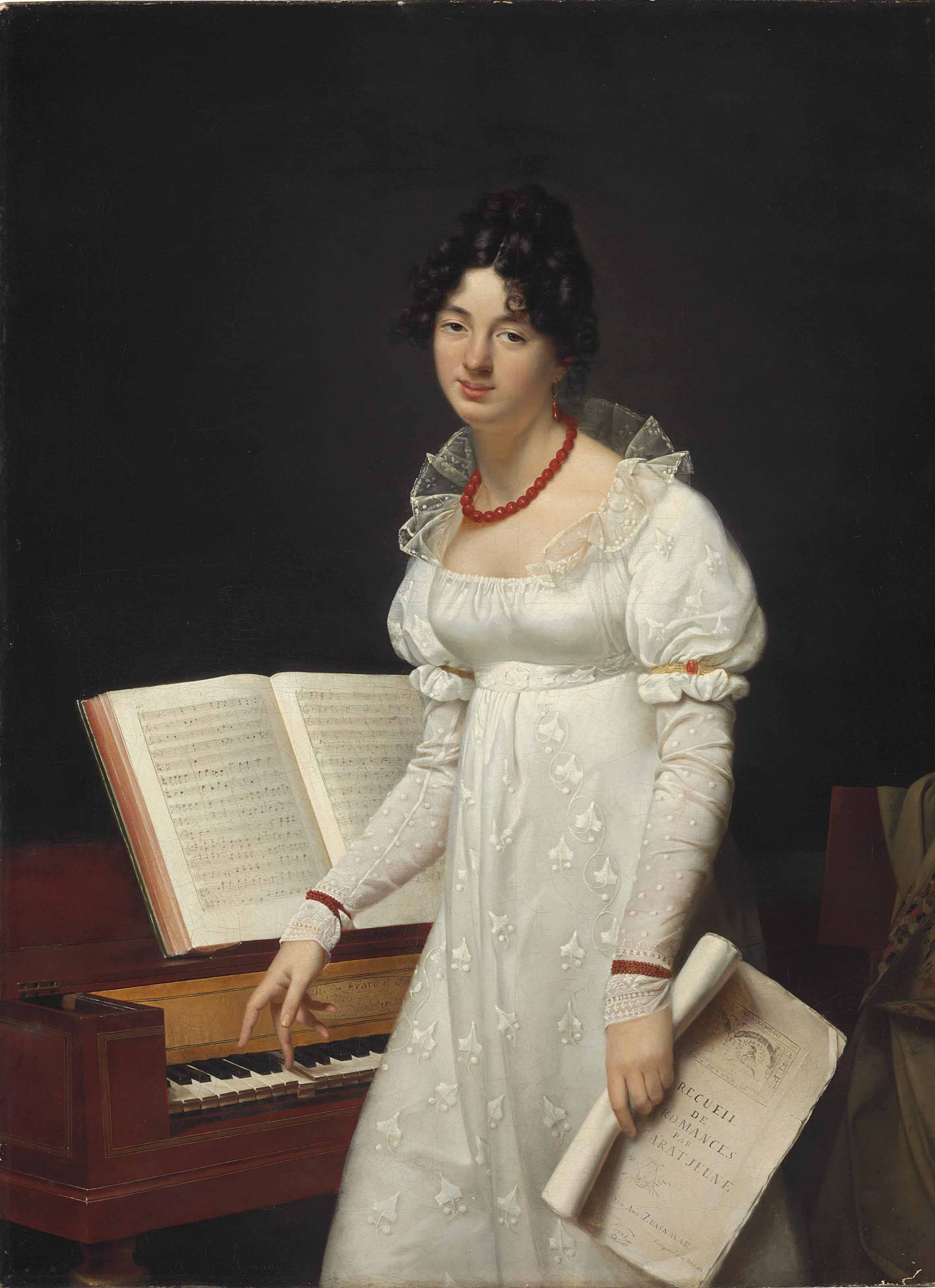 Portrait of a lady, three-quarter length, at a pianoforte holding a manuscript