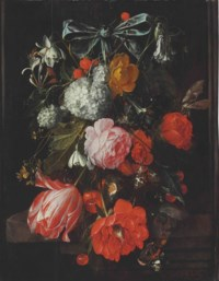 A garland of roses, poppies, a tulip, morning glories, honeysuckle, columbine, a guilder rose (snowball), cherries, and wild strawberries suspended from a blue ribbon over a stone table with four moths