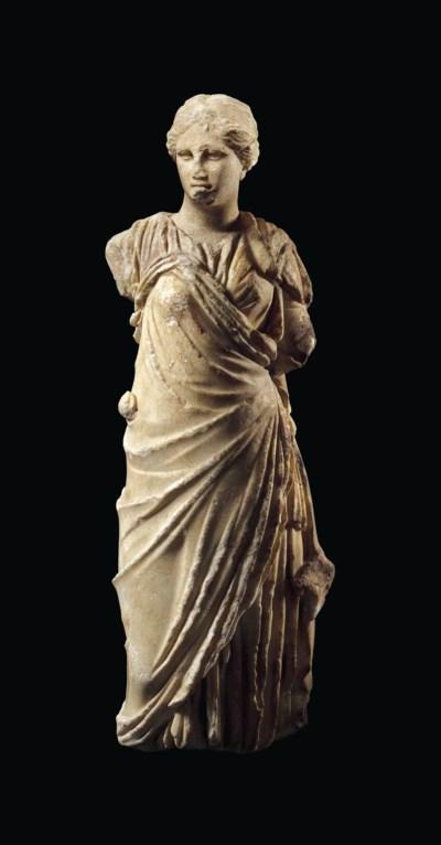 A GREEK MARBLE GODDESS