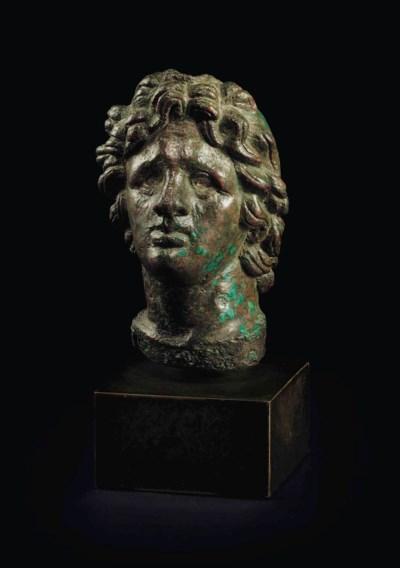 A ROMAN BRONZE HEAD OF ALEXAND