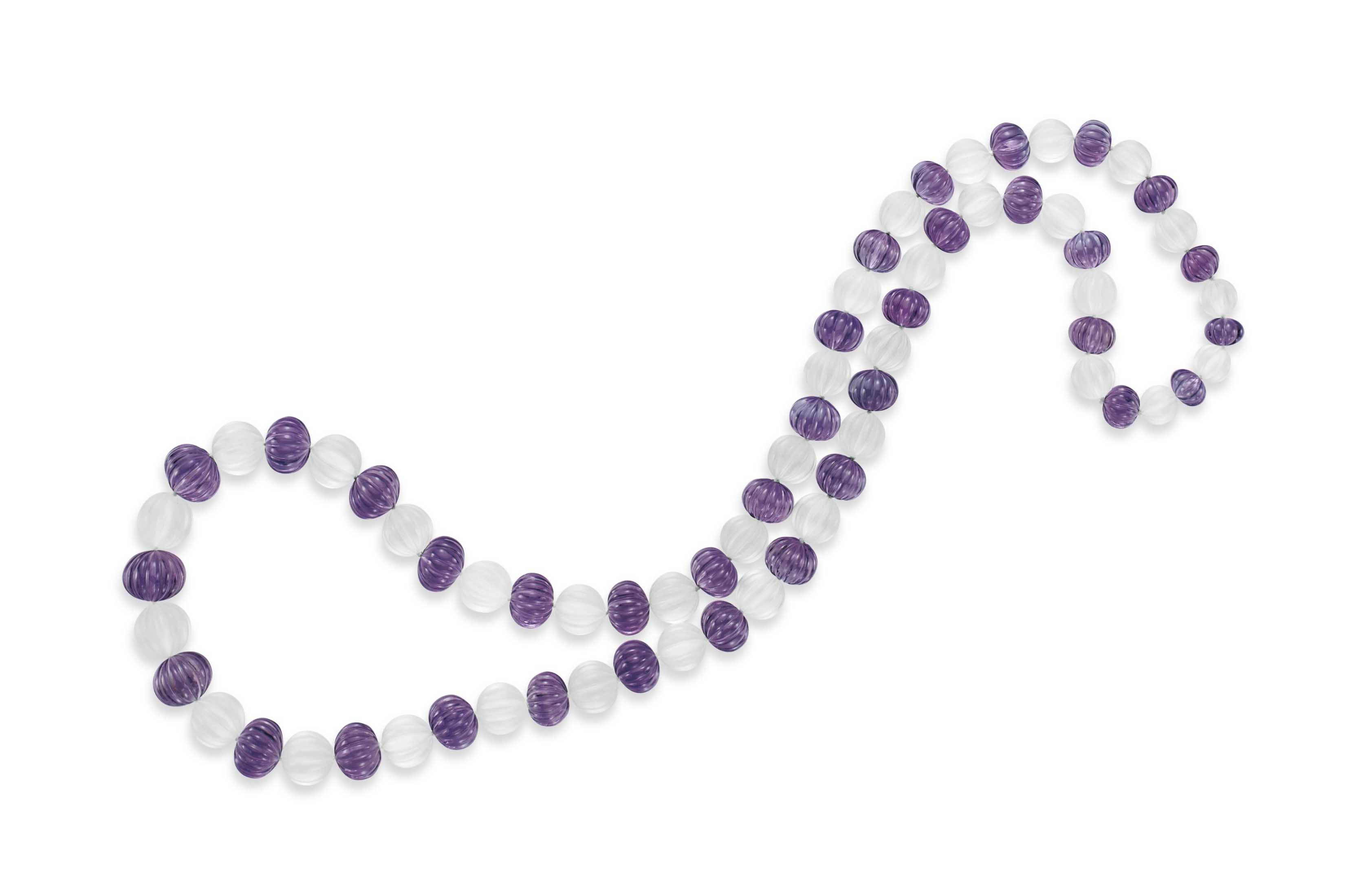 AN AMETHYST AND FROSTED ROCK CRYSTAL BEAD NECKLACE