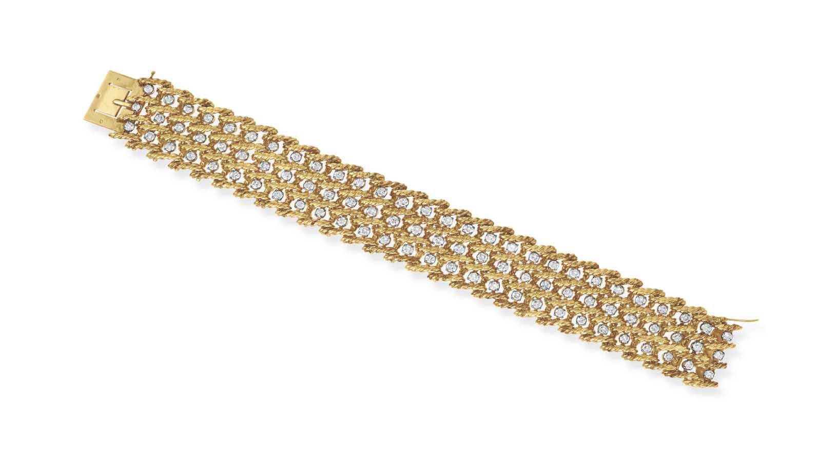 A DIAMOND AND GOLD BRACELET, BY BOUCHERON
