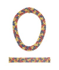 A SET OF MULTI-COLORED SAPPHIRE JEWELRY, BY ANGELA CUMMINGS