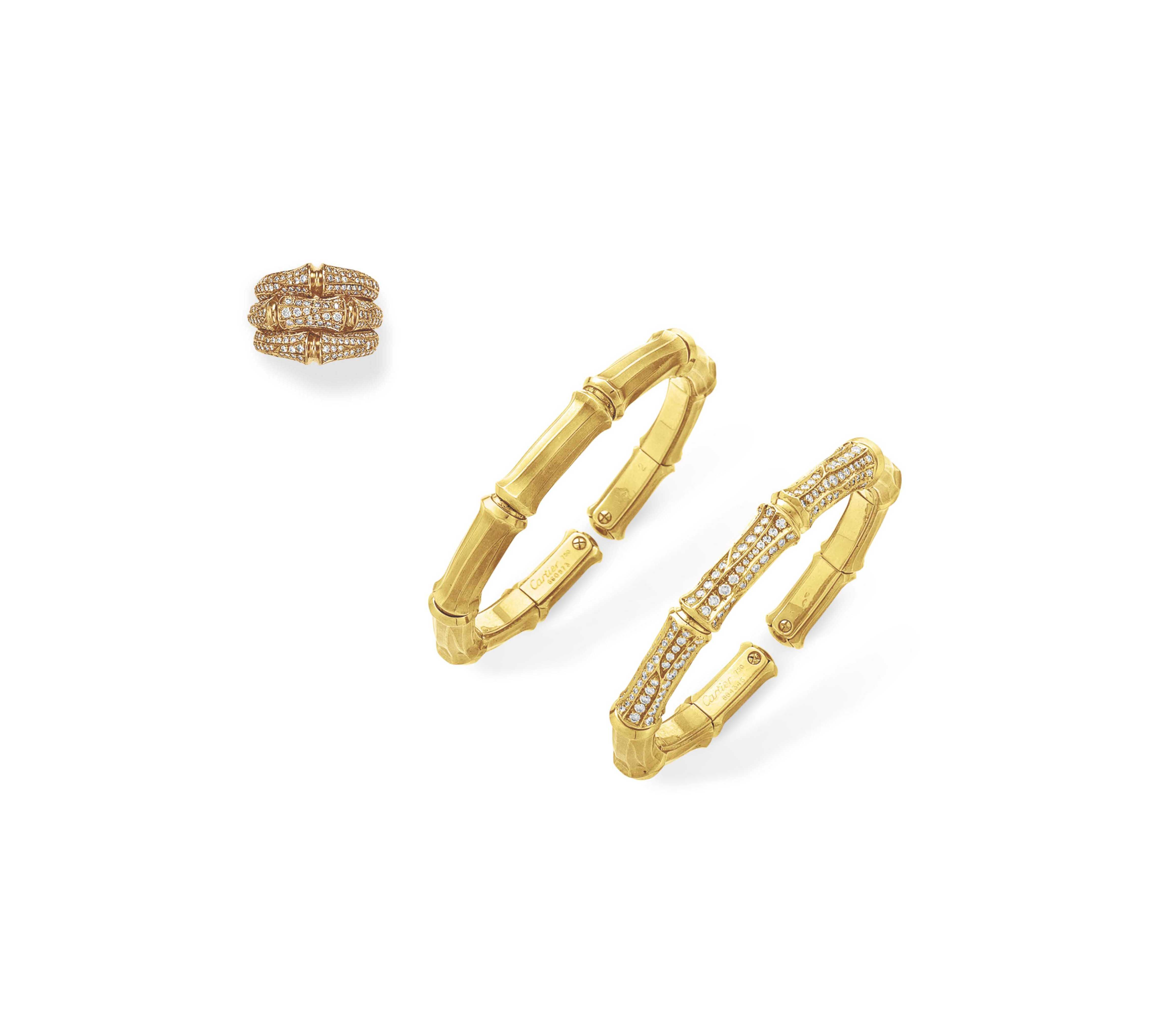 A SET OF DIAMOND AND GOLD JEWELRY, BY CARTIER