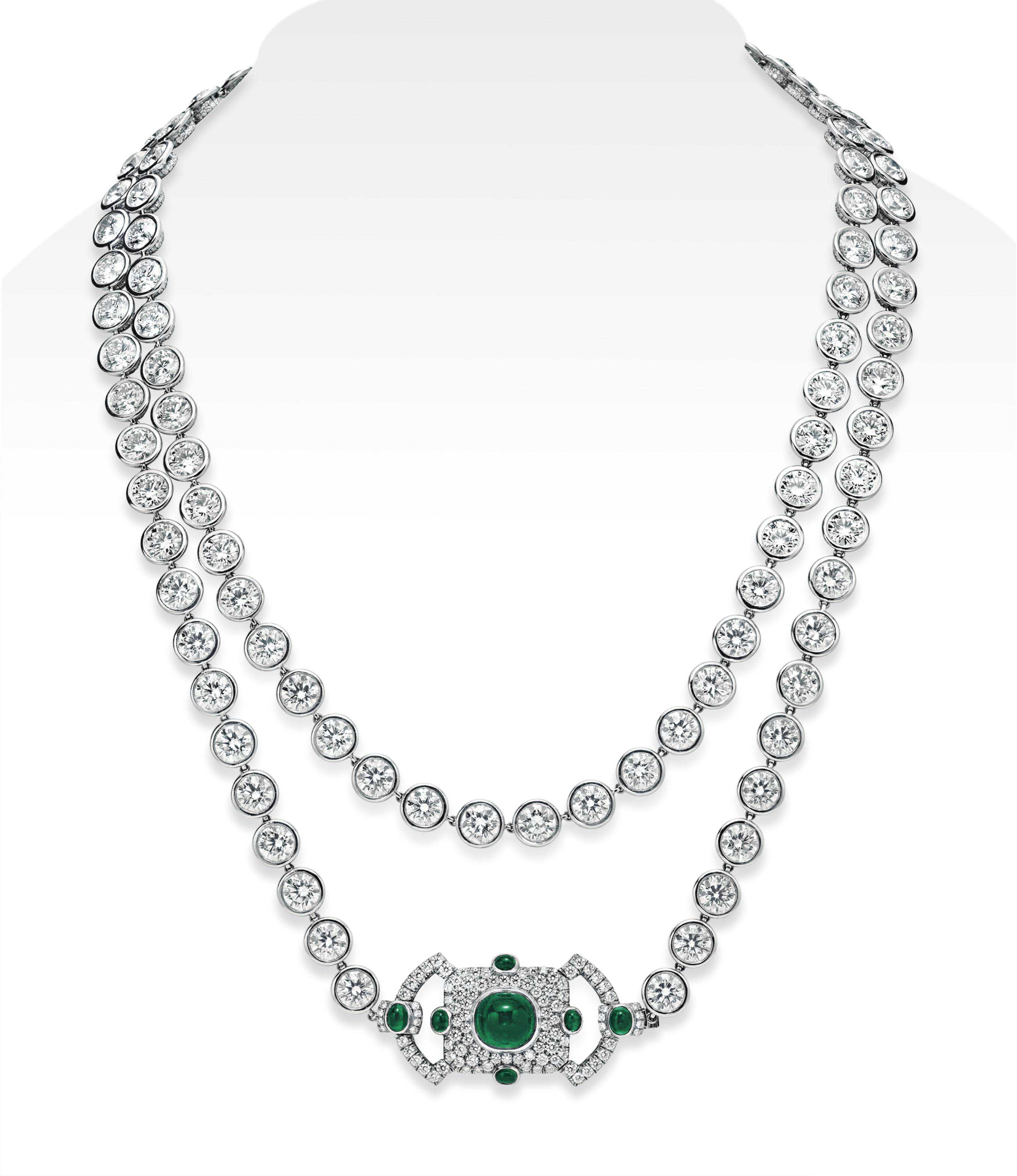 A DIAMOND AND EMERALD LONGCHAIN NECKLACE, BY LEVIEV