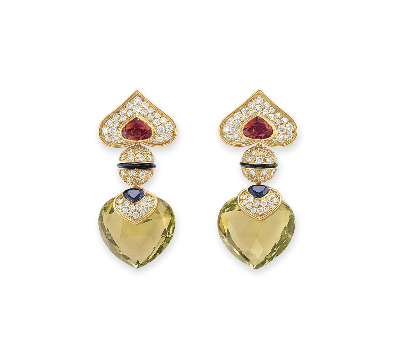 A PAIR OF DIAMOND AND MULTI-GEM EAR PENDANTS, BY MARINA B