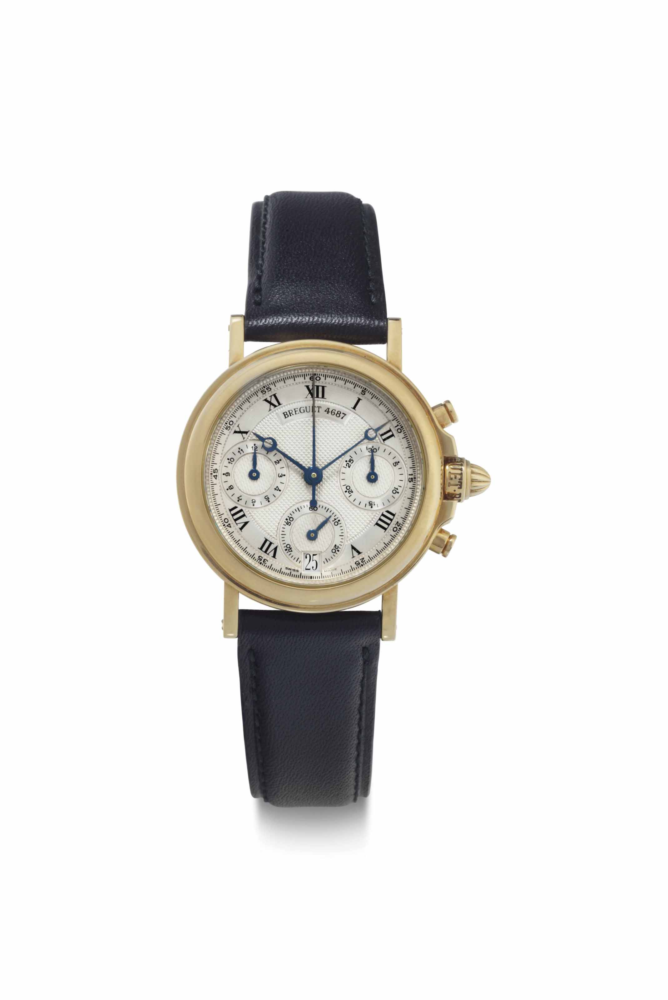 Breguet. A Fine 18k Gold Automatic Chronograph Wristwatch with Date