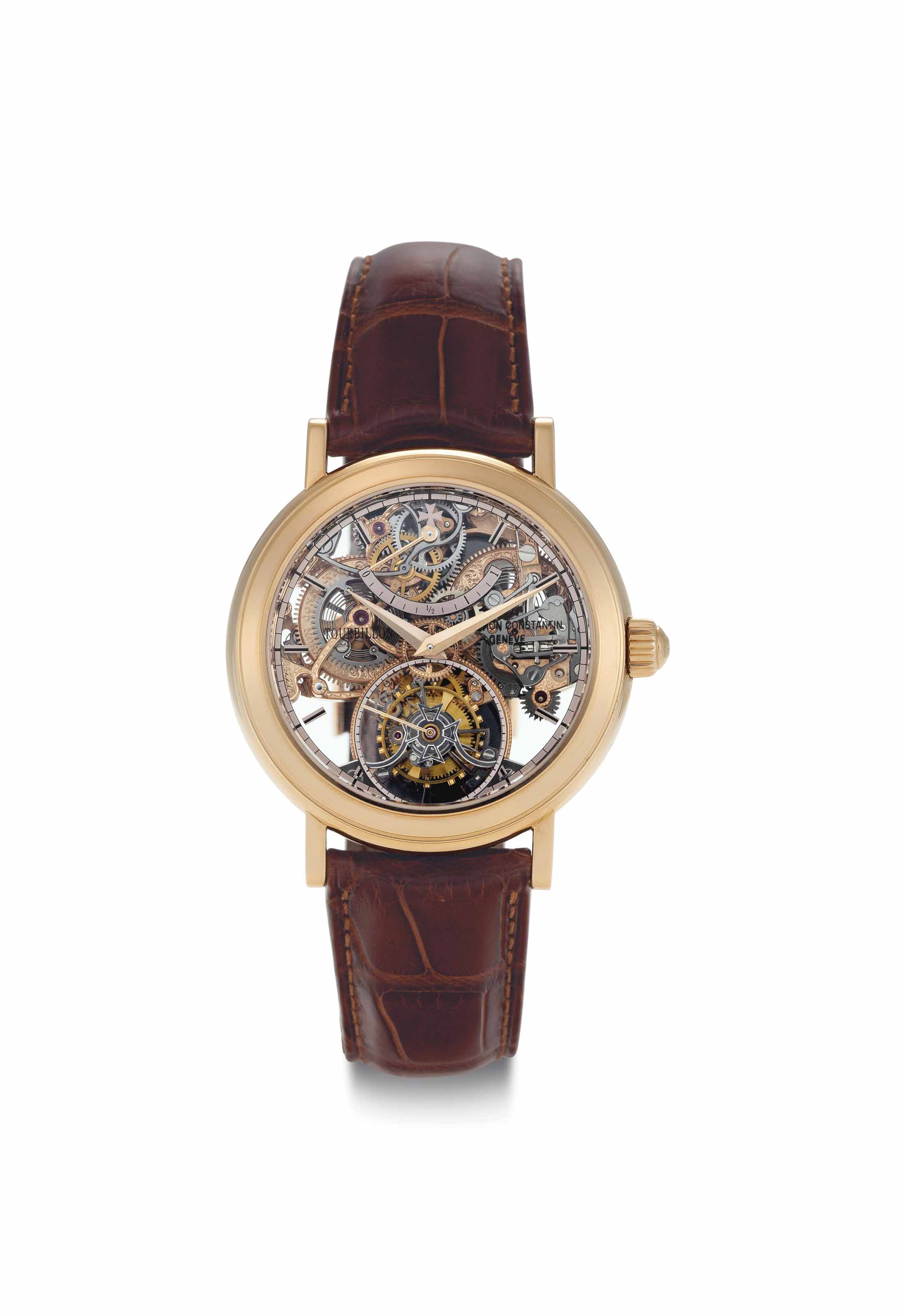 Vacheron Constantin. A Fine and Rare Limited Edition 18k Pink Gold Skeletonized Twin Barrel Tourbillon Wristwatch with Power Reserve
