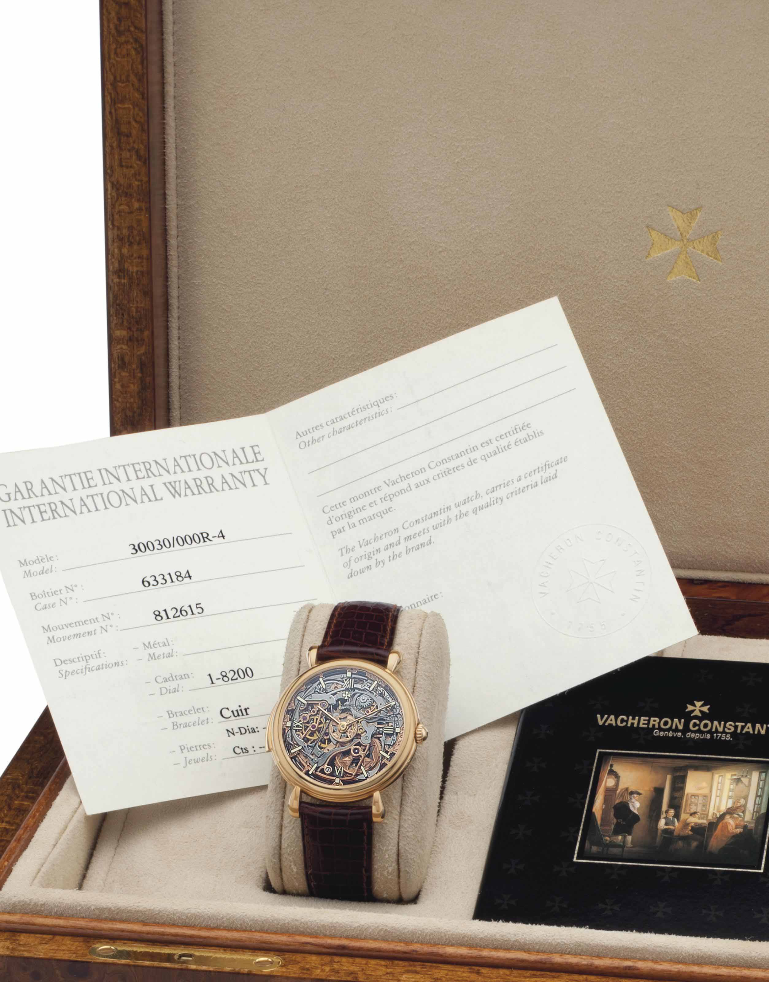 Vacheron Constantin. A Fine and Rare Limited Series 18k Pink Gold Skeletonized Minute Repeating Wristwatch