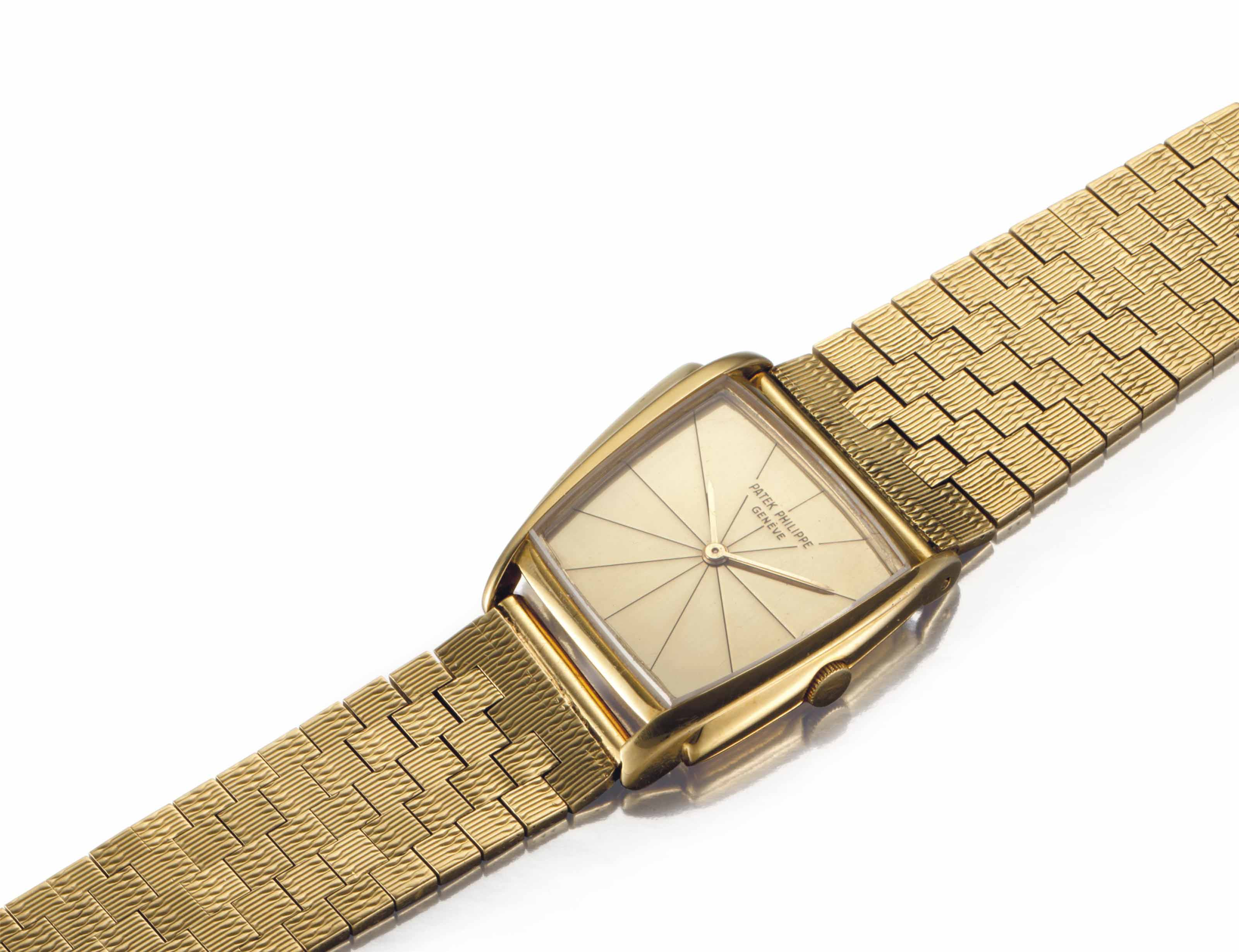 Patek Philippe. An Extremely Fine and Rare 18k Gold Asymmetrical Wristwatch with Champagne Dial and Bracelet, Designed by Gilbert Albert and Retailed by Serpico Y Laino