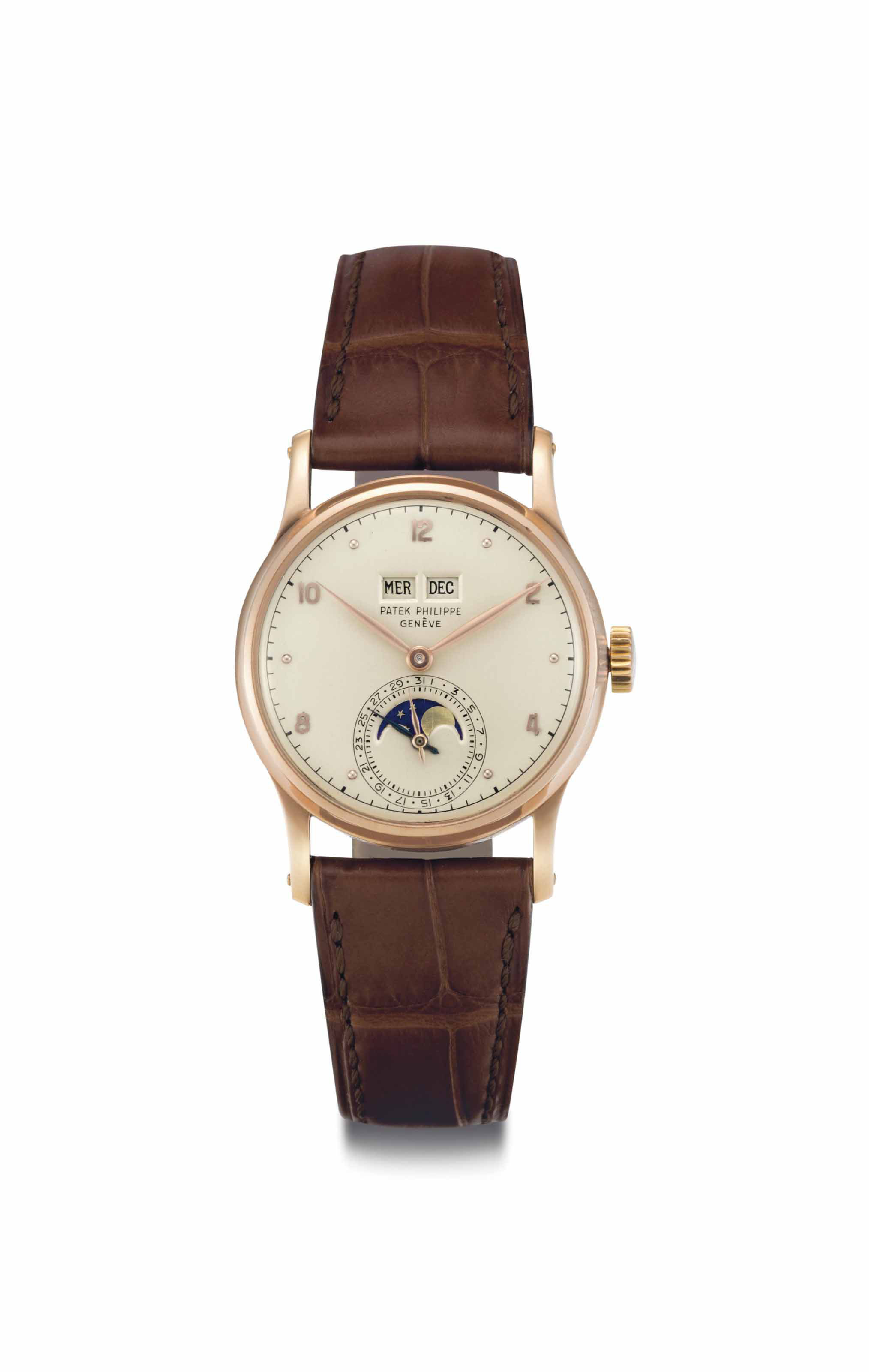 Patek Philippe. A Very Fine and Rare 18k Pink Gold Perpetual Calendar Wristwatch with Phases of the Moon