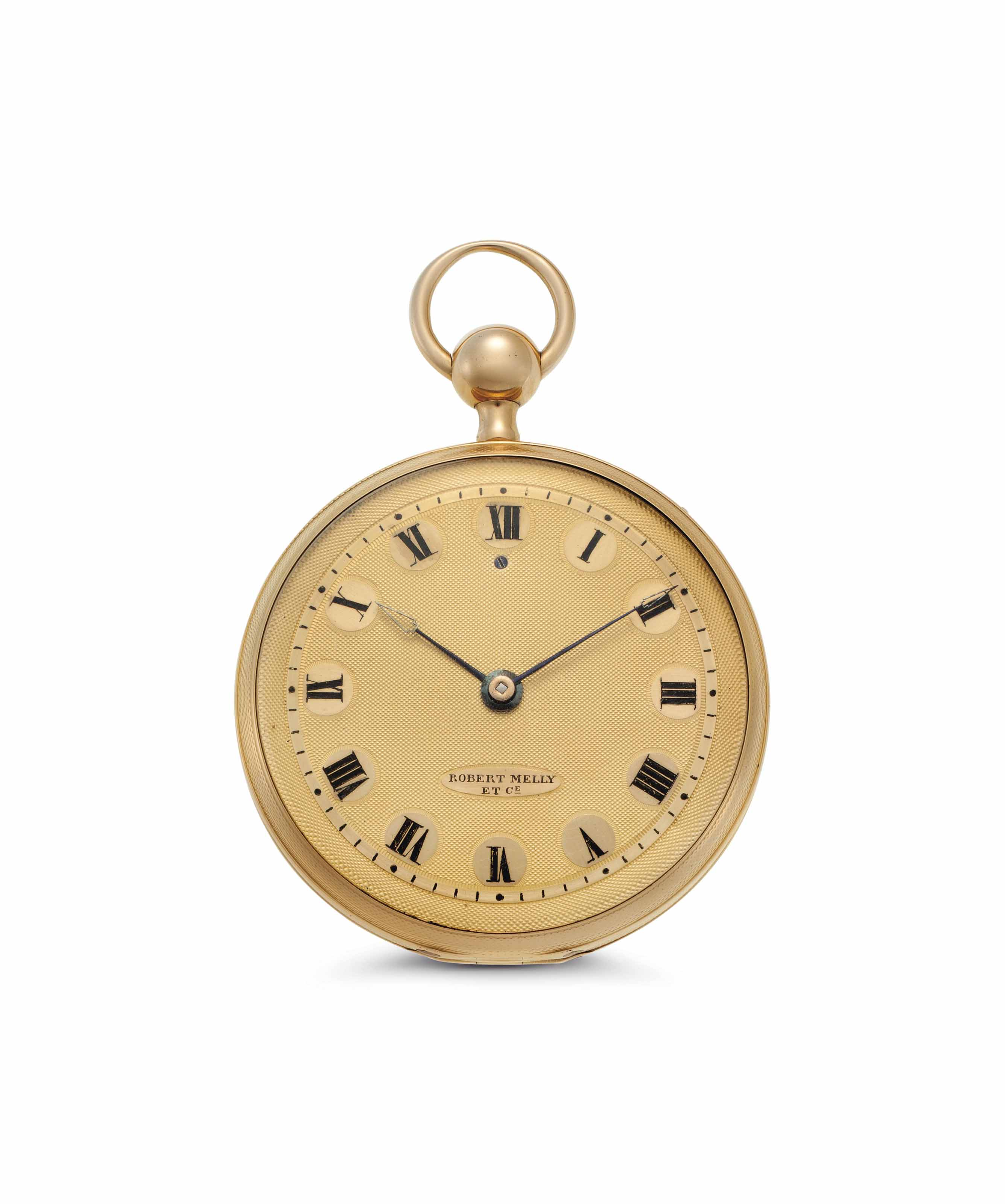 Melly. A Fine and Rare 18k Gold Three Hammer Minute Repeating Openface Keywound Cylinder Watch