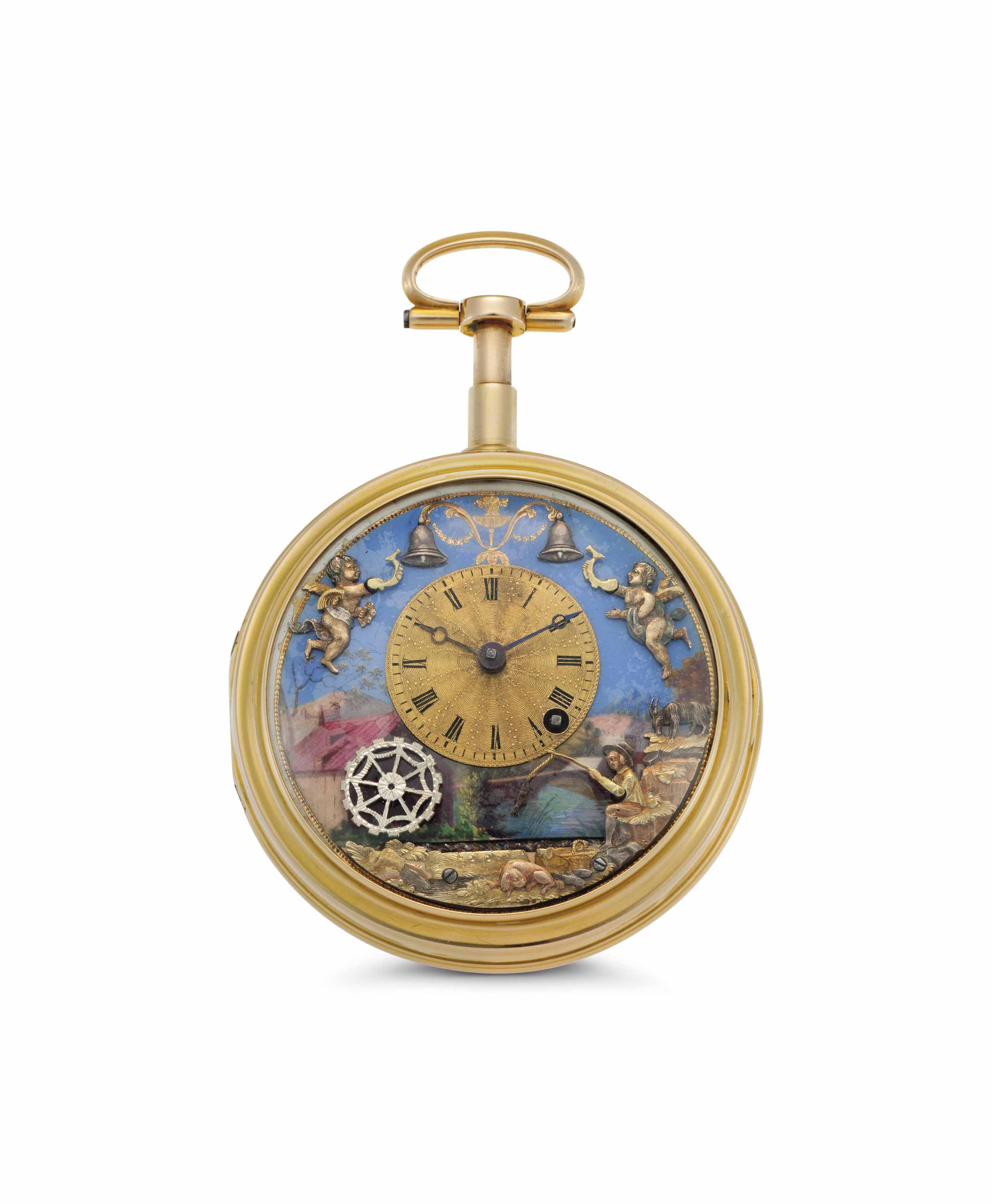 Anonymous. A Rare 18k Gold and Enamel Quarter Repeating Keywound Automaton Watch