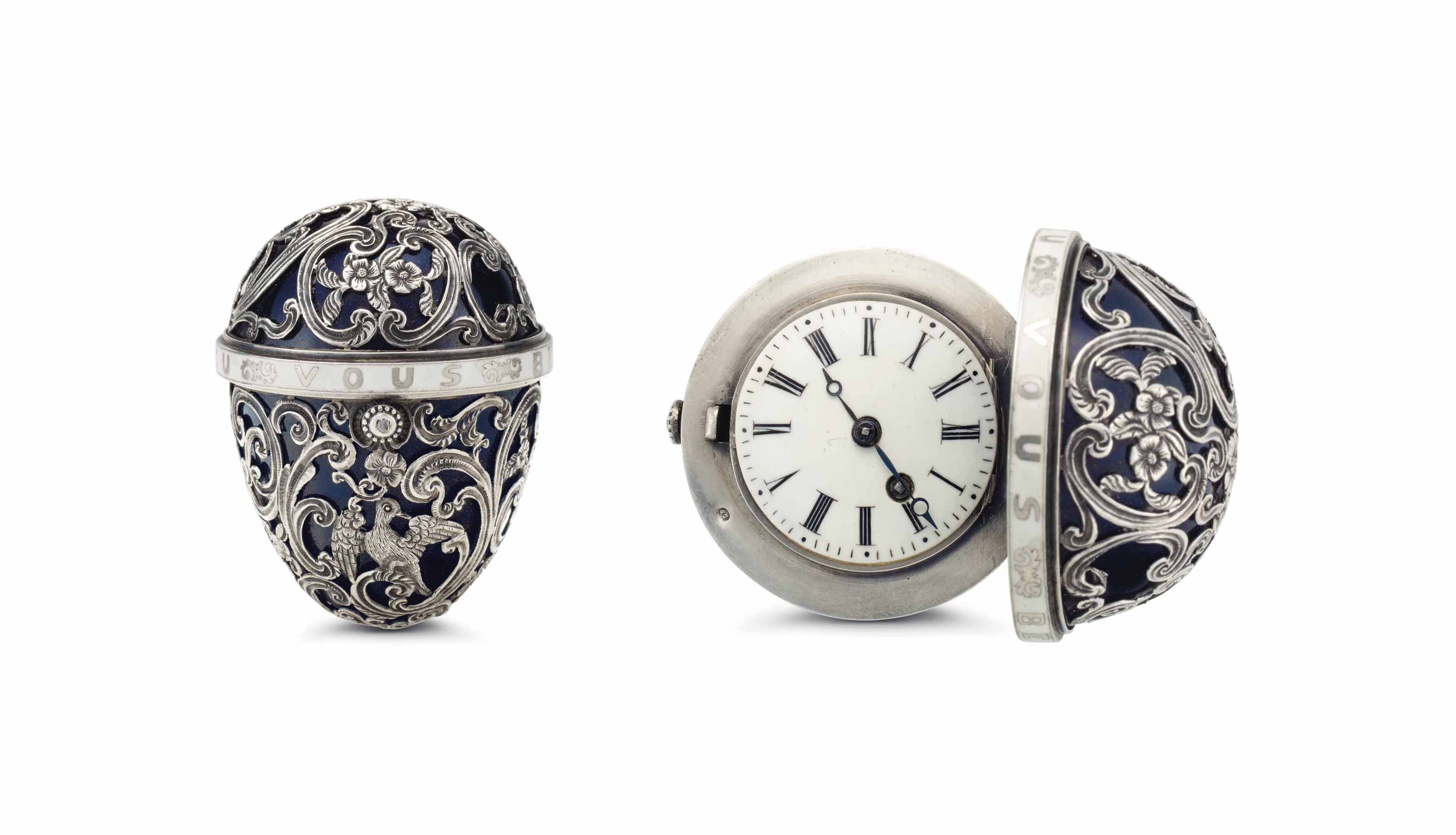 Strigsner. A Silver and Enamel Egg-Form Keywound Verge Watch with Concealed Dial