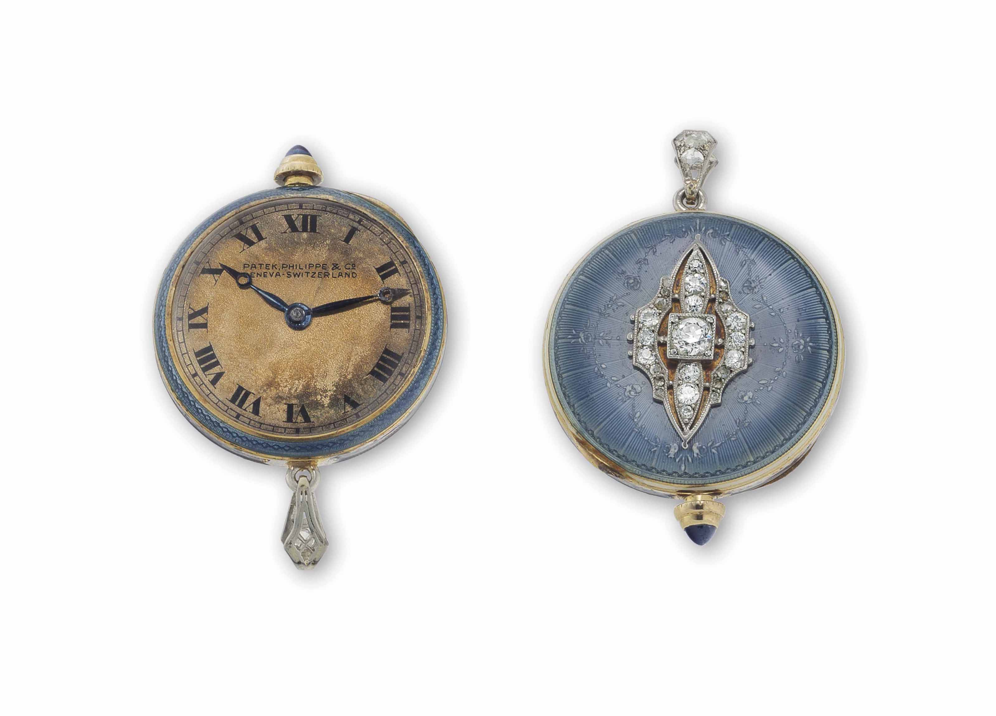 Patek Philippe. A Lady's 18k Gold, Enamel and Diamond-set Keyless Lever Pendant Watch