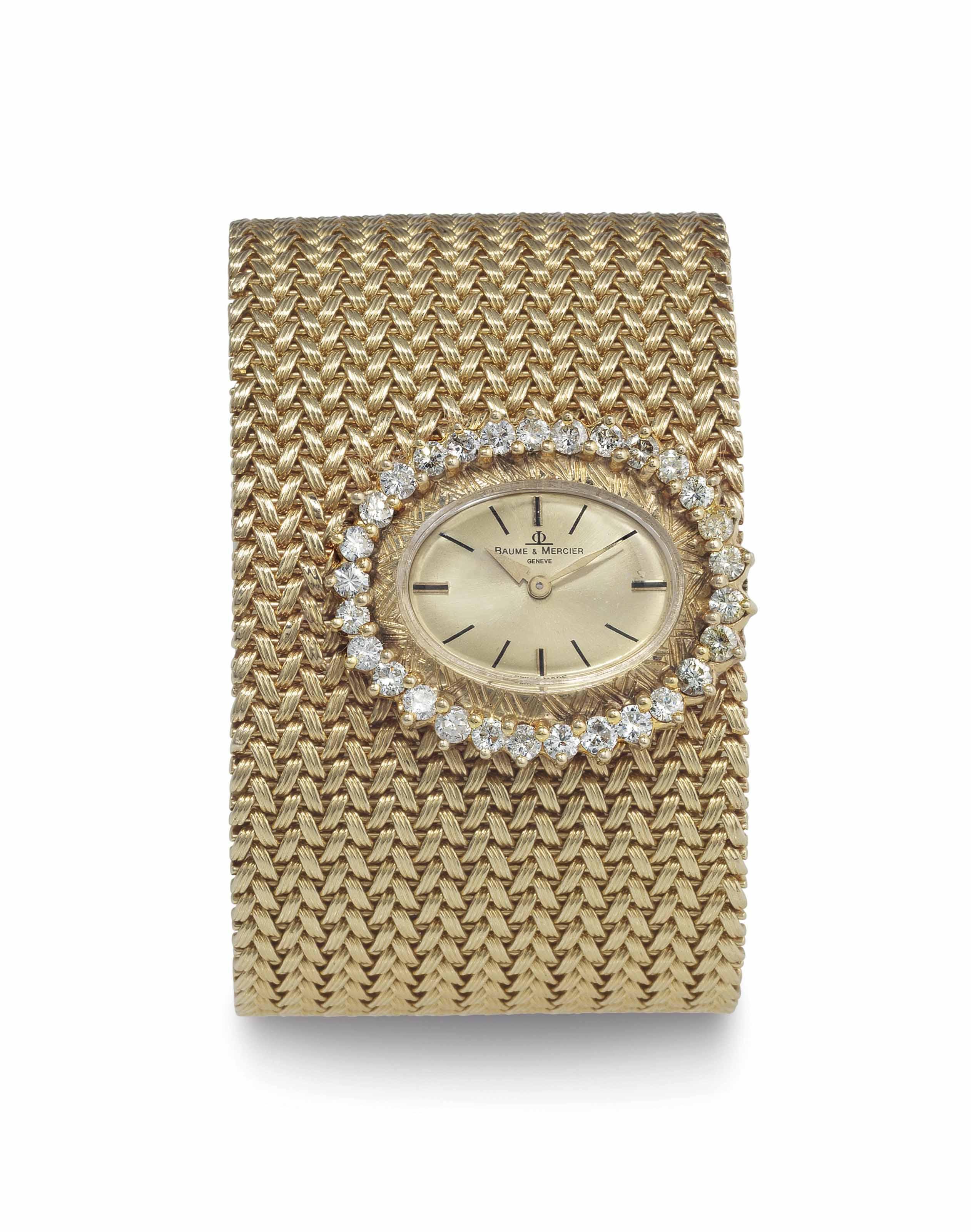 Baume & Mercier. A Lady's 14k Gold and Diamond-Set Cuff Bracelet Watch