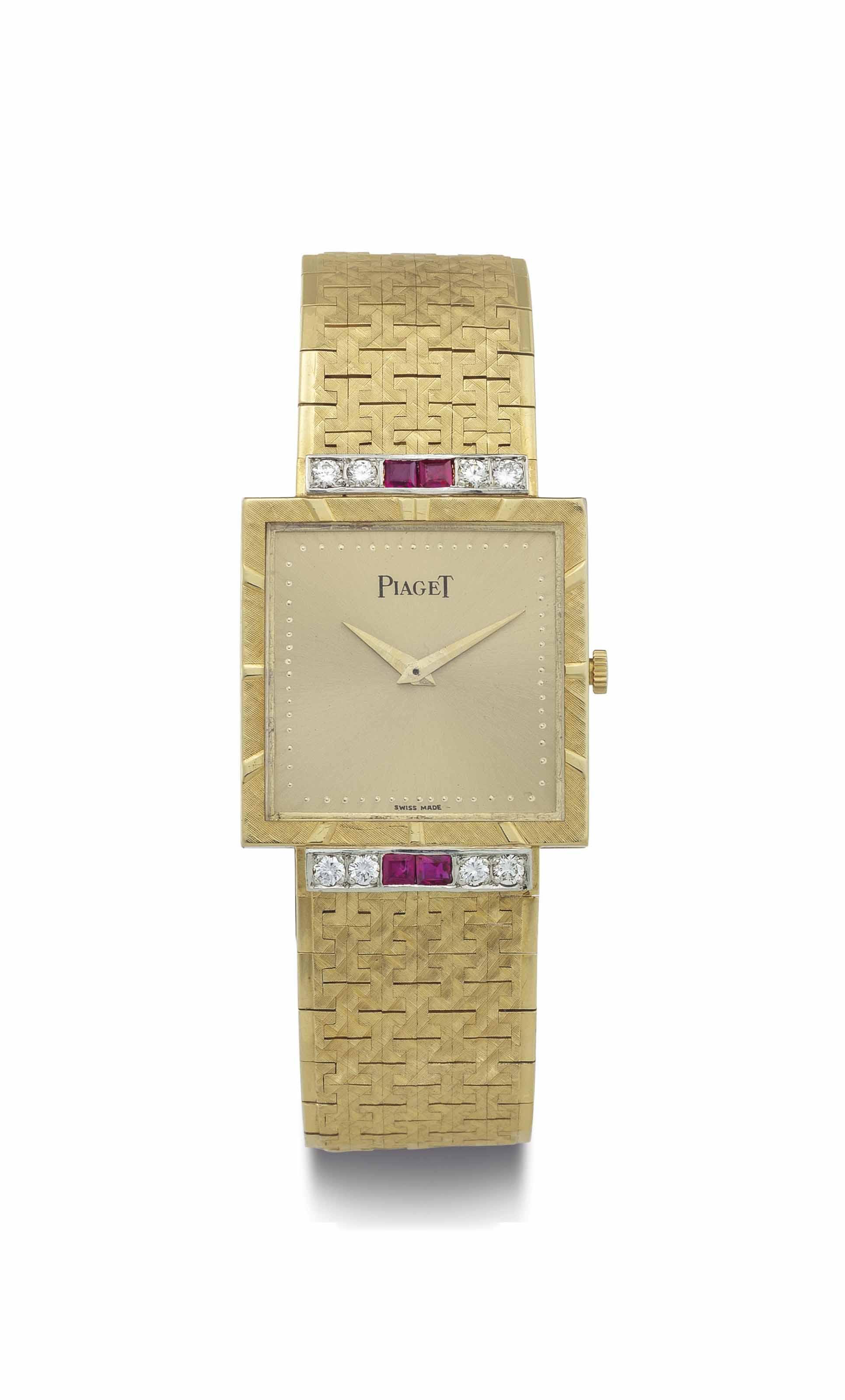 Piaget. A Fine 18k Gold, Diamond and Ruby-Set Square Wristwatch with Bracelet