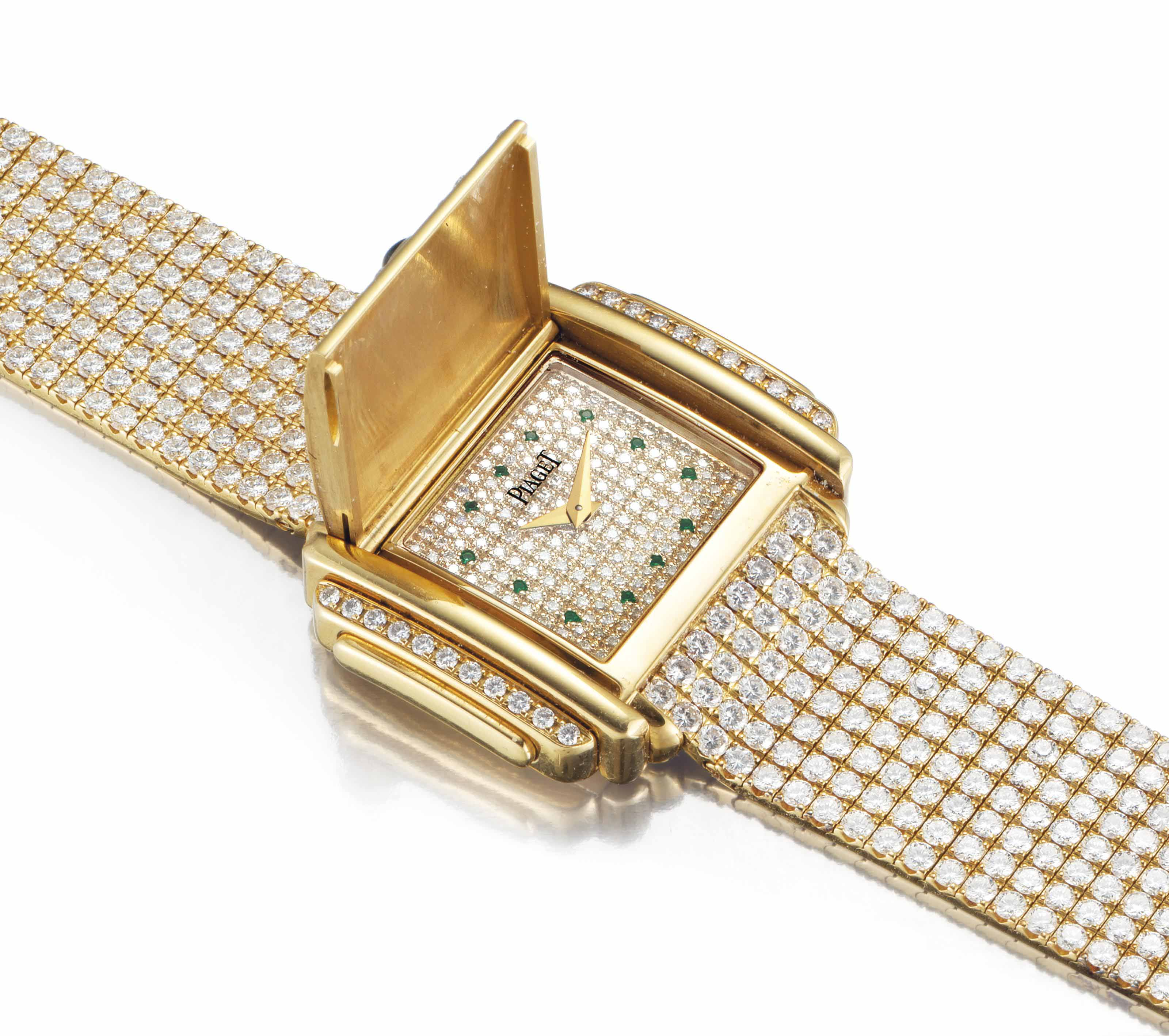 Piaget. A Lady's Fine and Rare 18k Gold, Diamond, and Emerald-Set Bracelet Watch with Concealed Dial