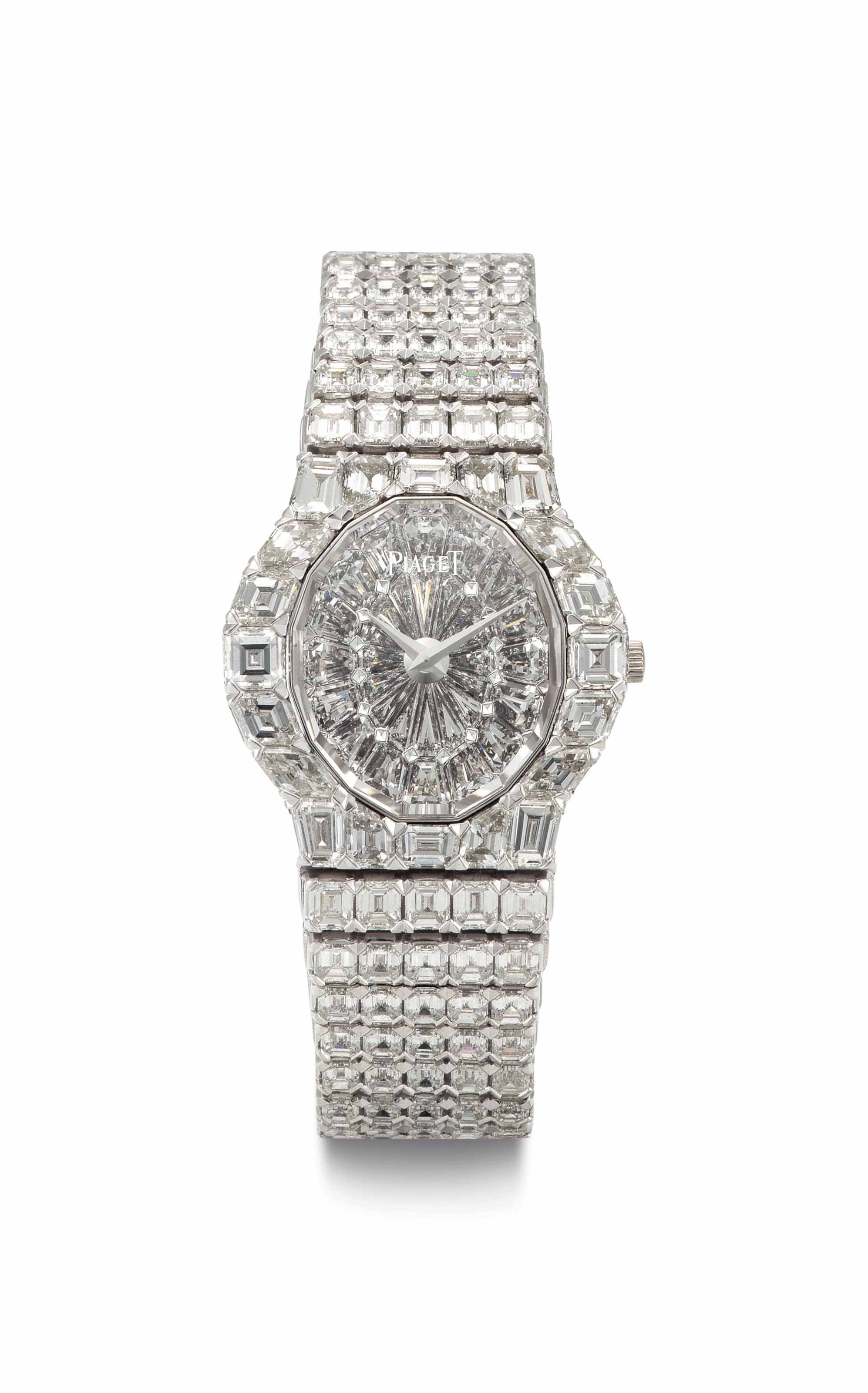 Piaget. An Extremely Fine and Rare 18k White Gold and Diamond-Set Bracelet Watch