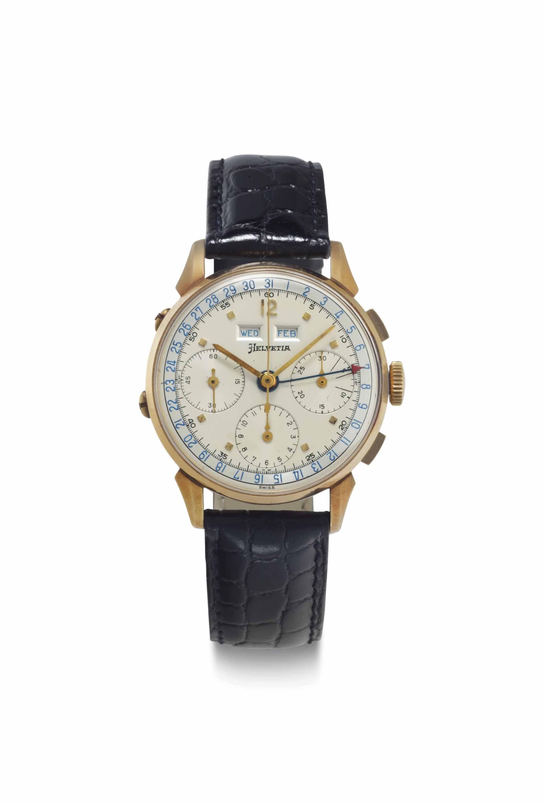 Helvetia. An 18k Gold Triple Calendar Chronograph Wristwatch