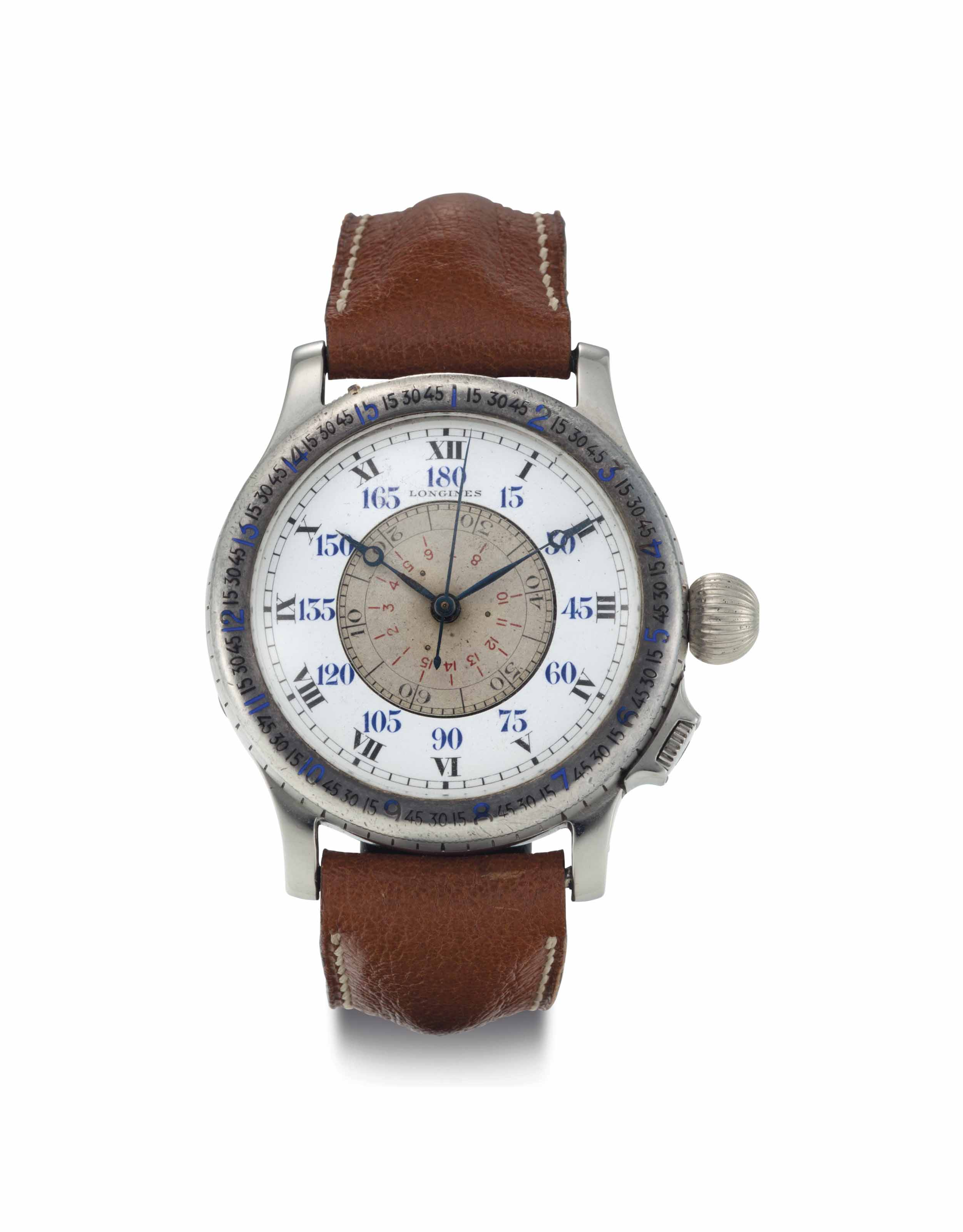 Longines. A Rare and Large Stainless Steel Aviator's Wristwatch with Center Seconds and Slide Rule