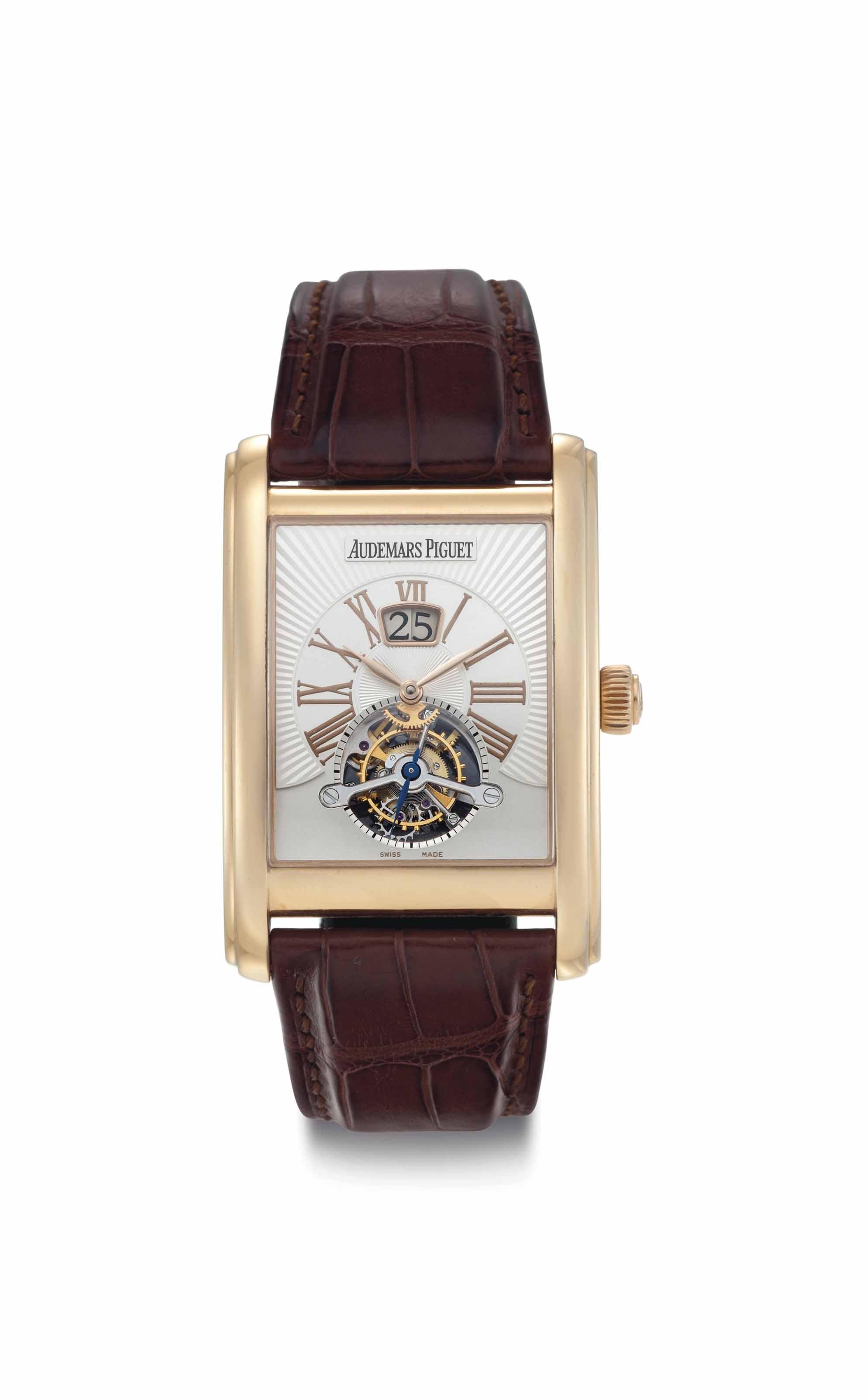 Audemars Piguet. A Fine and Rare 18k Pink Gold Wristwatch with Tourbillon and Date