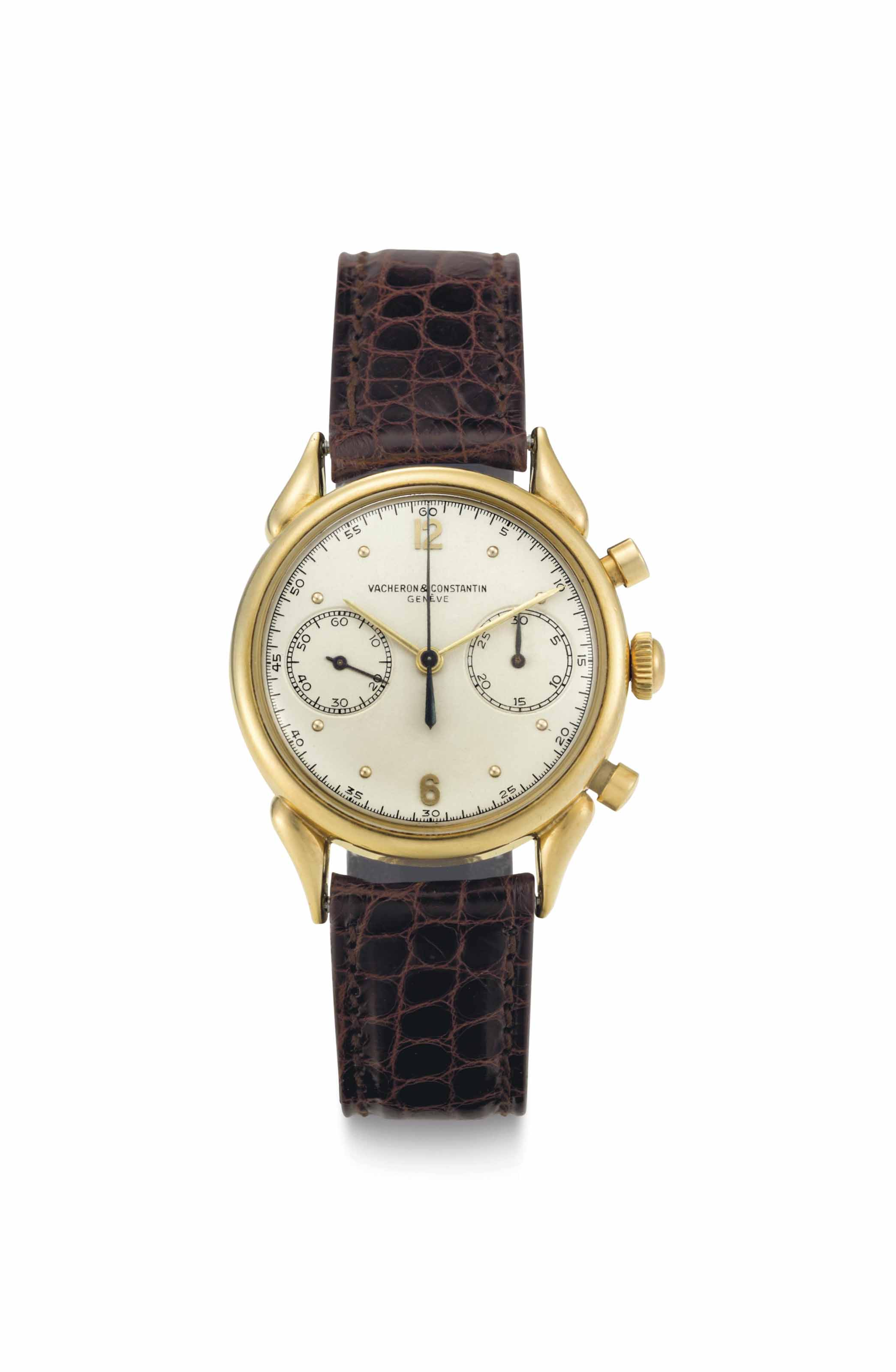 Vacheron Constantin. A Very Fine and Rare Chronograph Wristwatch with Unusual Lugs
