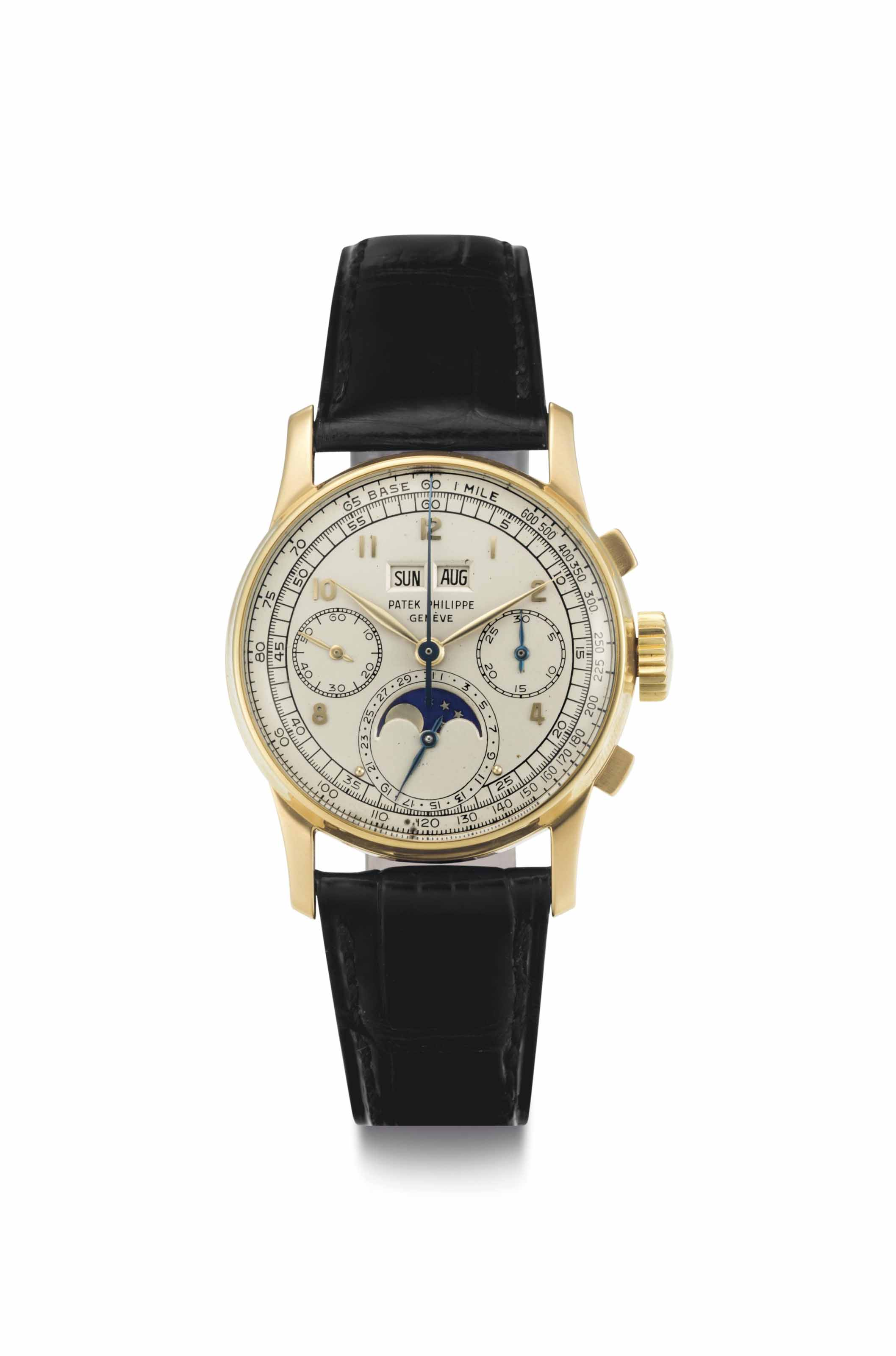 Patek Philippe. A Fine and Rare 18k Gold Perpetual Calendar Chronograph Wristwatch with Moon Phases