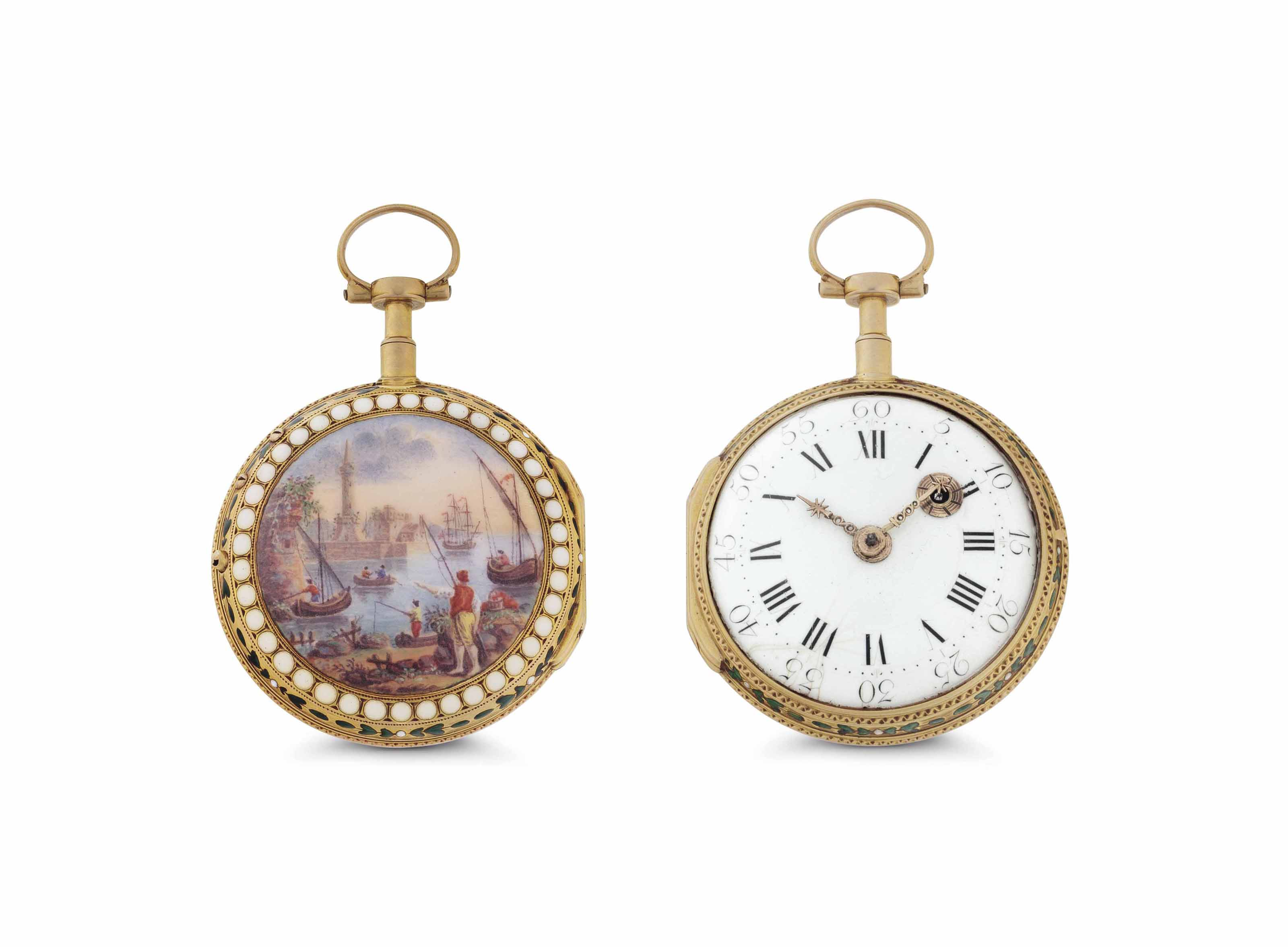 Marchand & Fils. An 18k Gold and Enamel Open Face Keywound Verge Watch