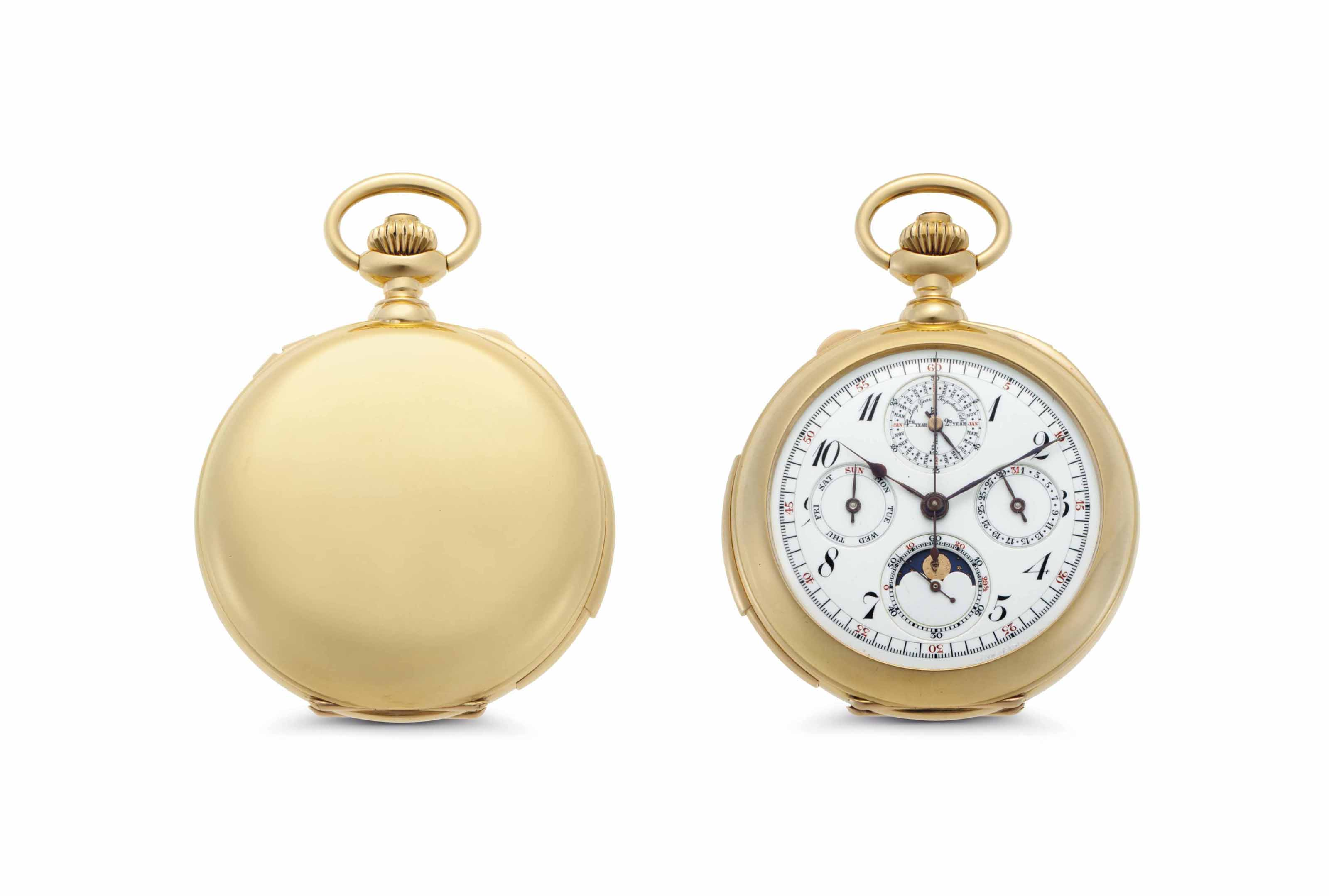 Meylan.  A Fine 18k Gold Minute Repeating Perpetual Calendar Openface Keyless Lever Split-Seconds Chronograph Watch