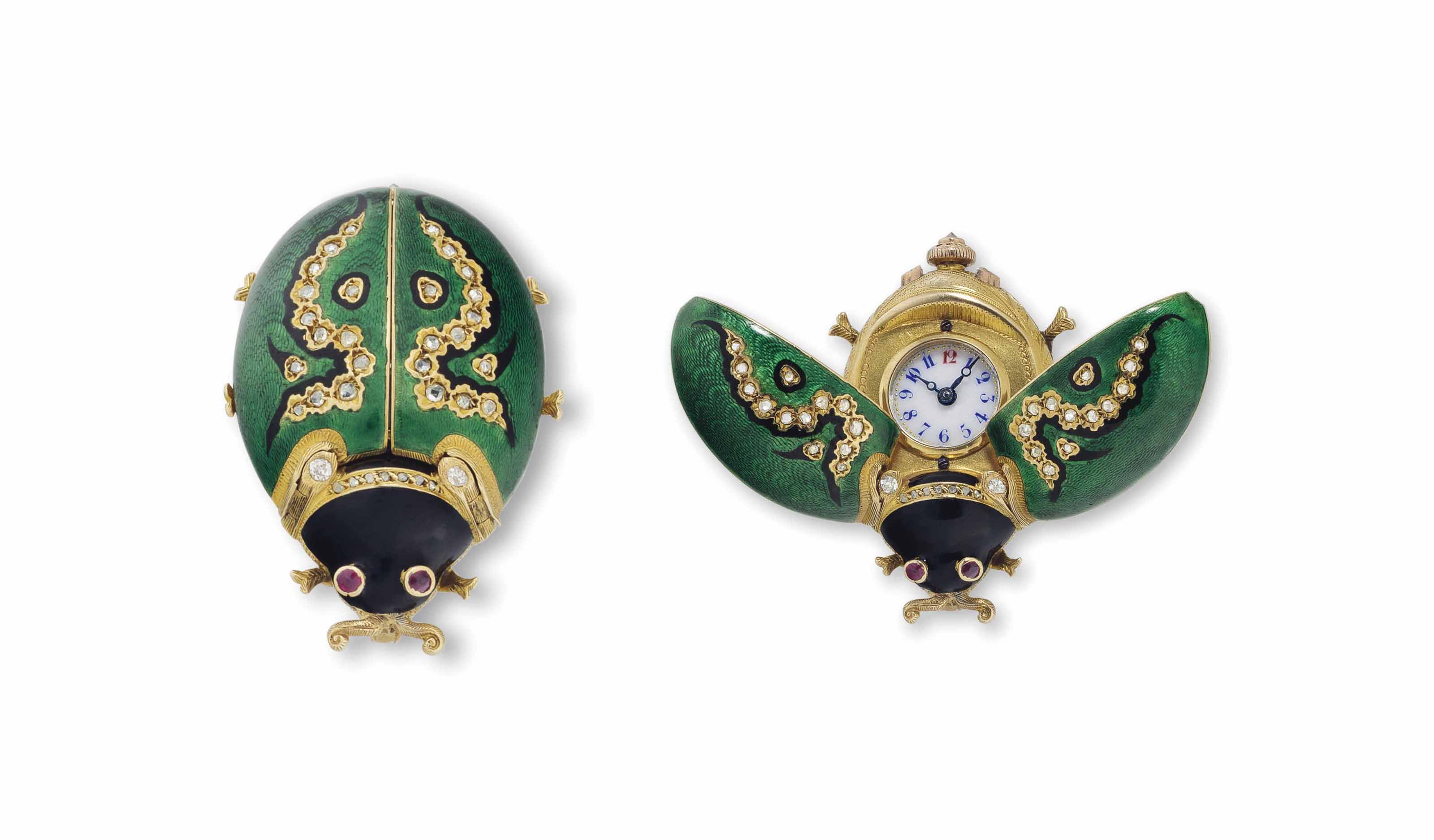 Girard-Perregaux. A Fine and Rare 18k Gold, Enamel and Diamond-Set Lady Bug Form Watch with Concealed Dial