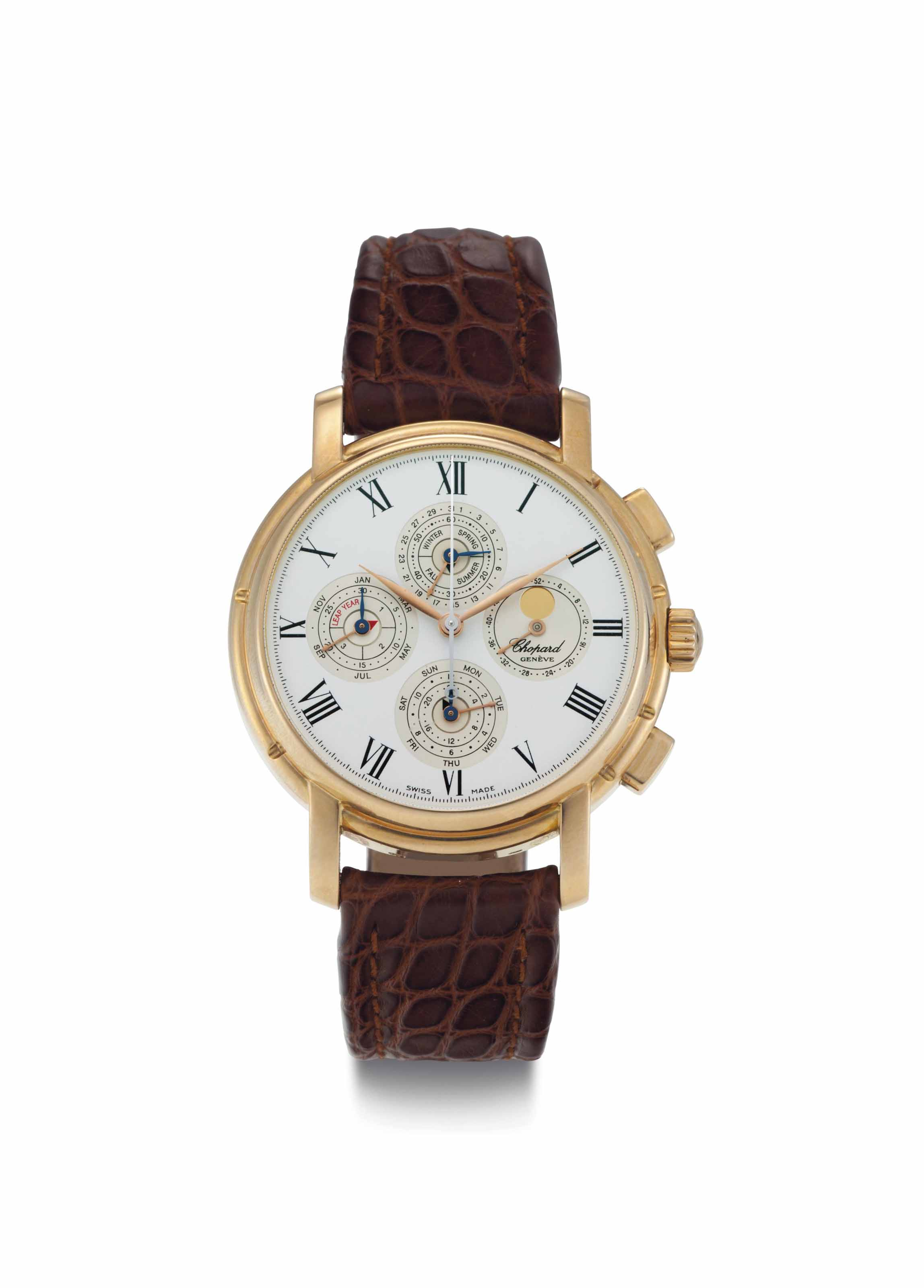 Chopard. A Limited Edition 18k Pink Gold Automatic Perpetual Calendar Chronograph Wristwatch with Moon Phases, Seasonal Indicator, and Week of the Year Indicator