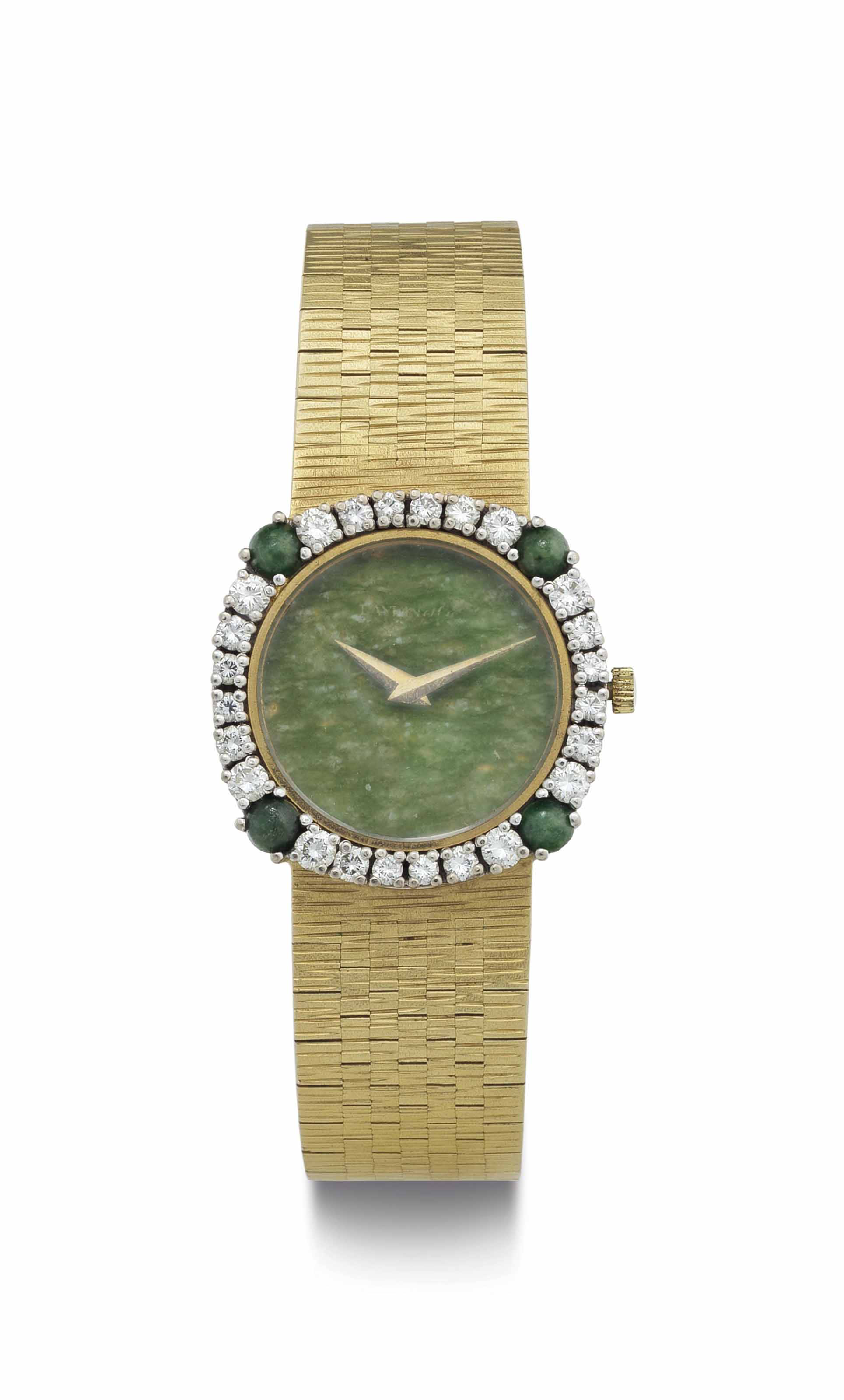 Chopard. A Lady's 18k Gold and Diamond-Set Bracelet Watch with Nephrite Dial