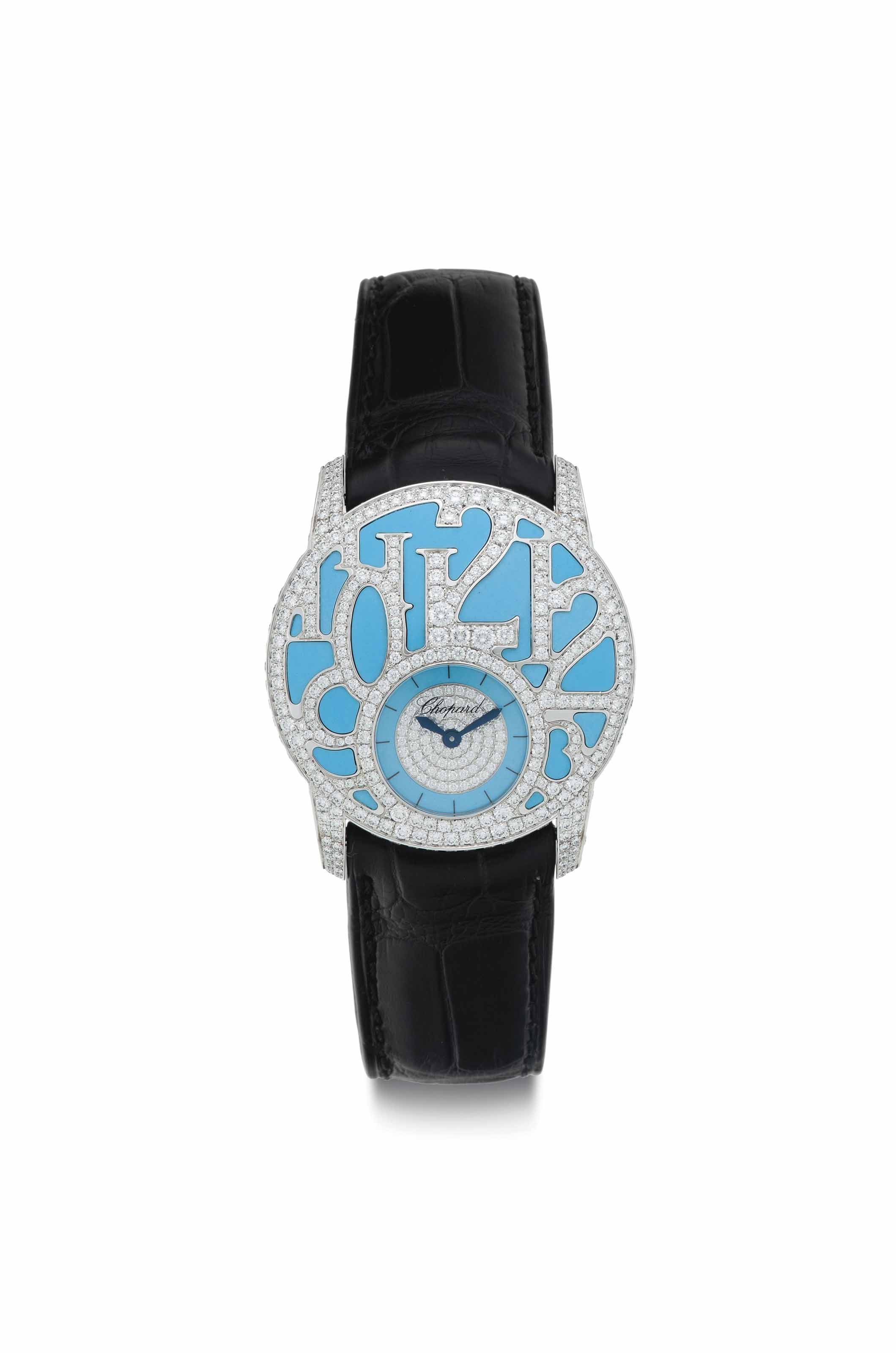 Chopard. A Lady's Fine 18k White Gold and Diamond-Set Wristwatch with Turquoise Dial