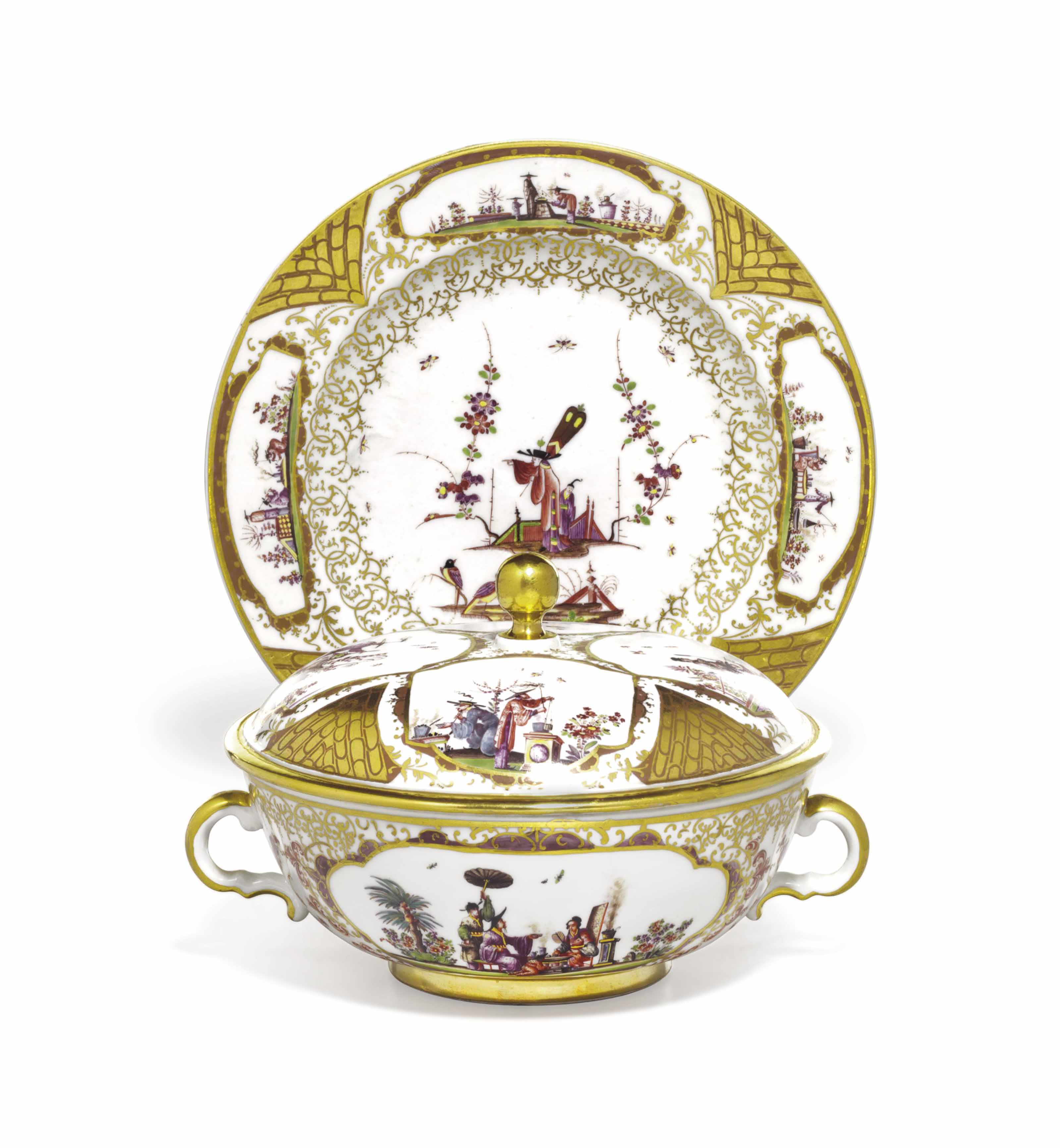 TWO MEISSEN PORCELAIN 'EARL OF