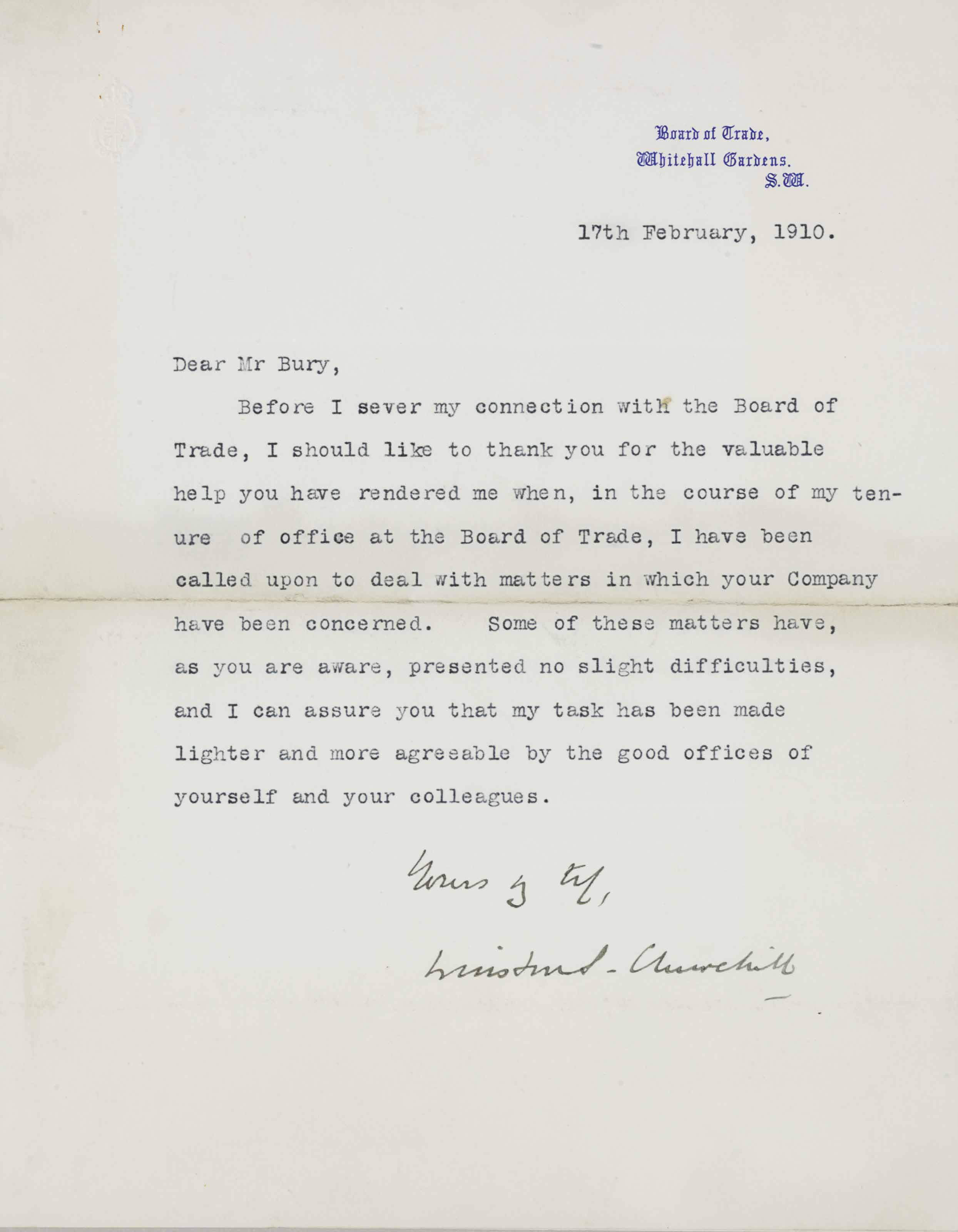 """CHURCHILL, Winston S. Typed letter signed (""""Winston S. Churchill"""") to Mr. Bury, London, 17 February 1910. 1 page, 4to, Board of Trade stationery."""