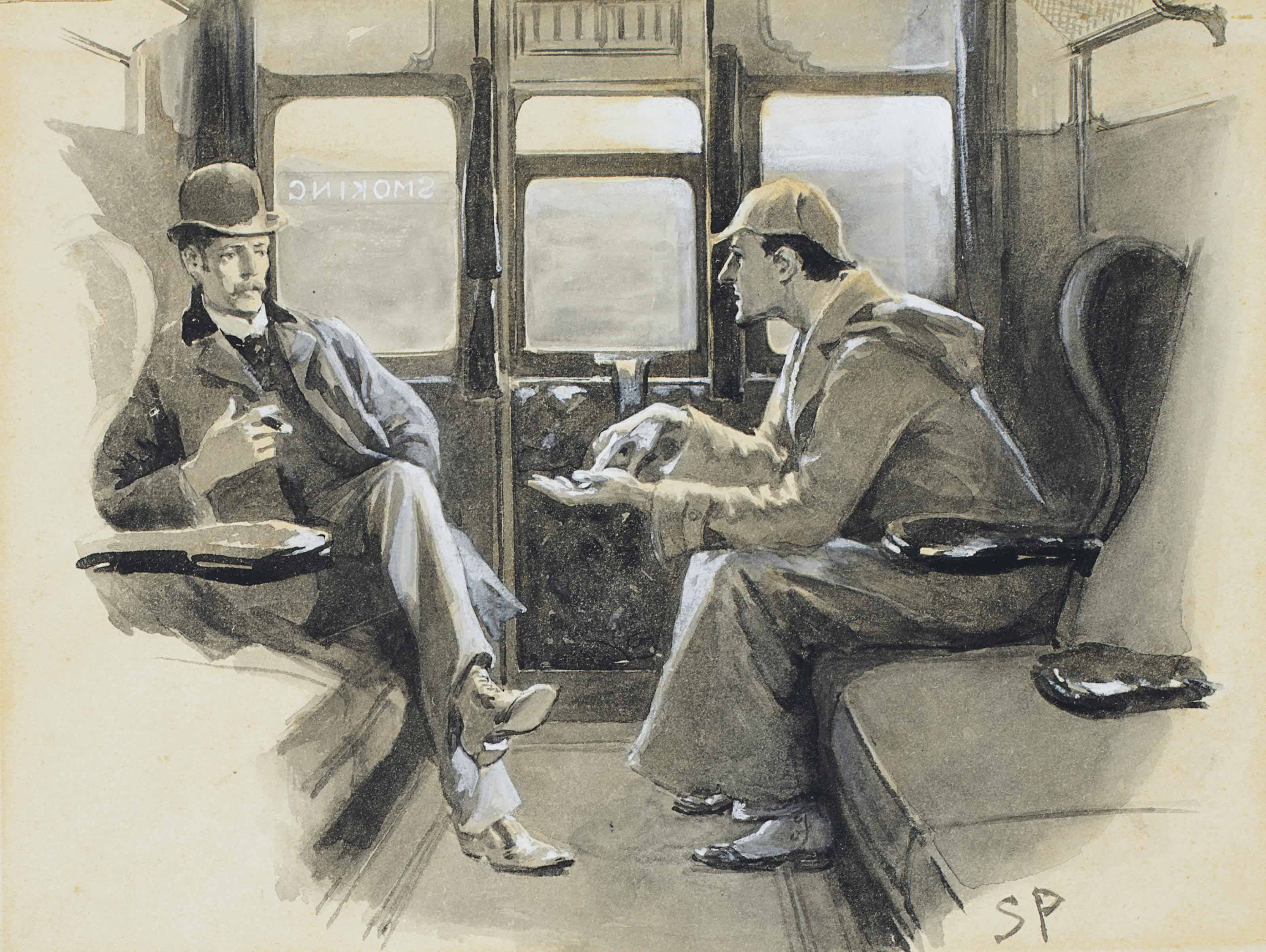 """[DOYLE, Arthur Conan]. PAGET, Sidney (1860-1908), Illustrator. Original gouache and watercolor drawing for Arthur Conan Doyle's Sherlock Holmes story """"The Adventure of Silver Blaze,"""" signed """"SP"""" in lower right-hand corner. The drawing is captioned in ink (probably by Paget) along the right-hand margin: """"Holmes gave me a sketch of the events."""" Published in The Strand Magazine, December 1892, p. 646."""